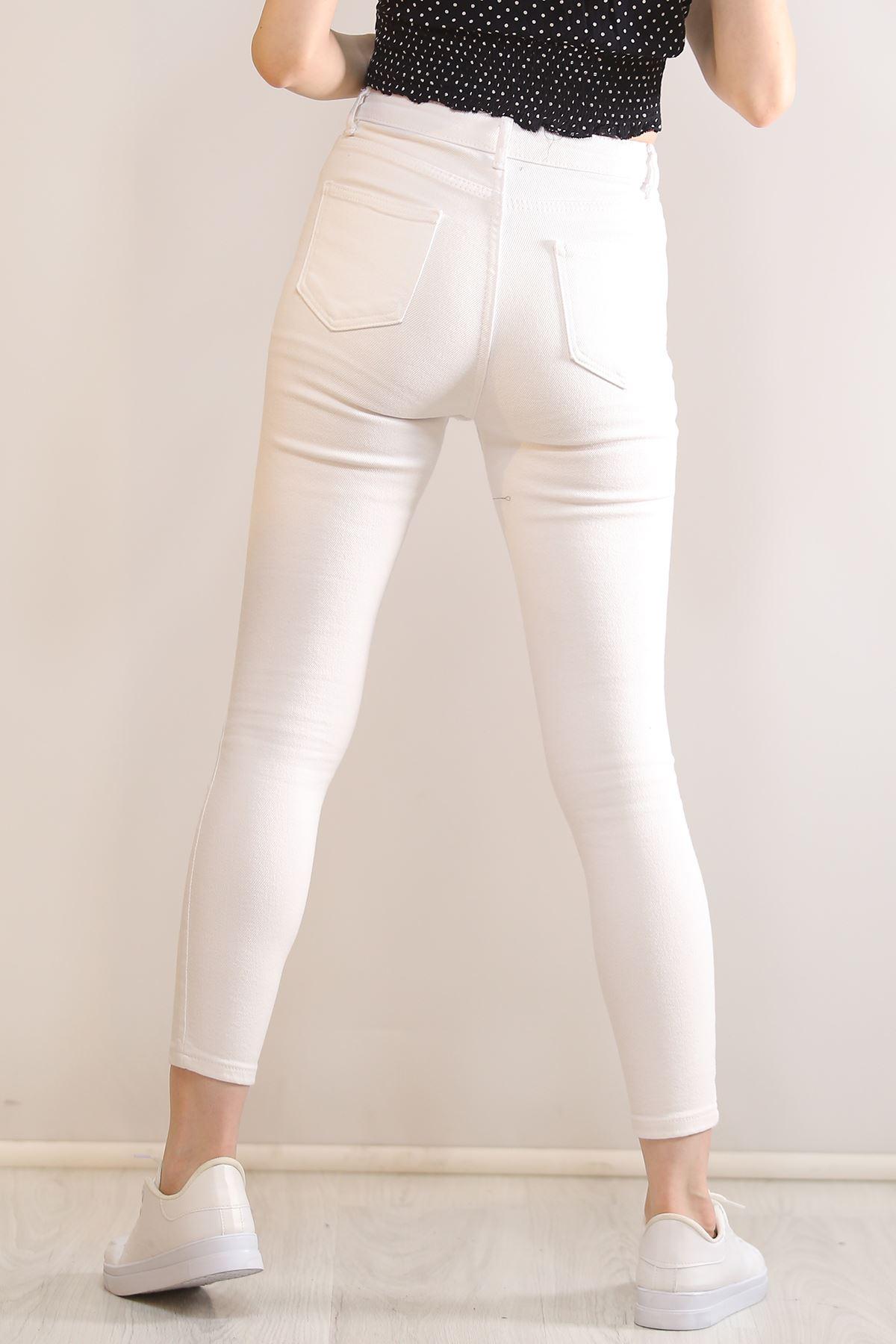 Dar Paça Kot Pantolon Beyaz - 5828.392.
