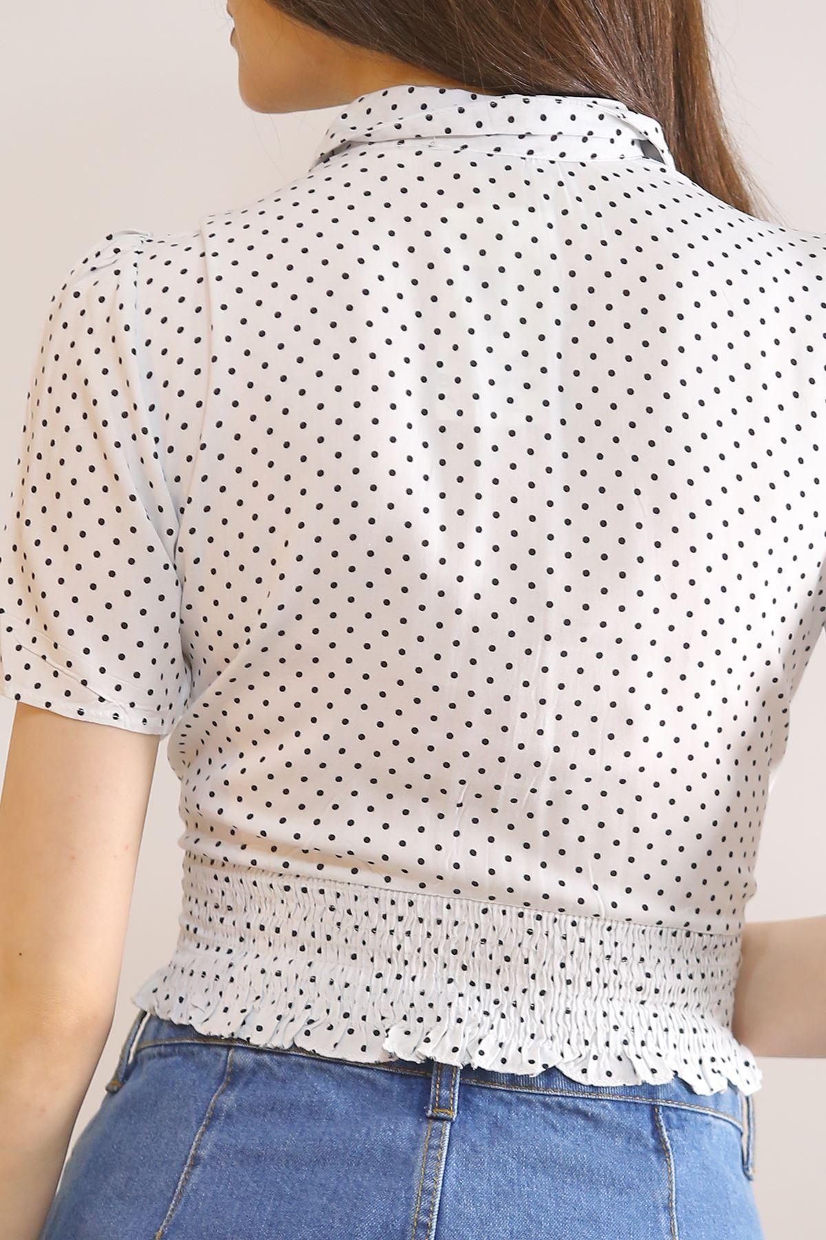 Altı Lastikli Gömlek Beyazpuanlı - 5833.1153.