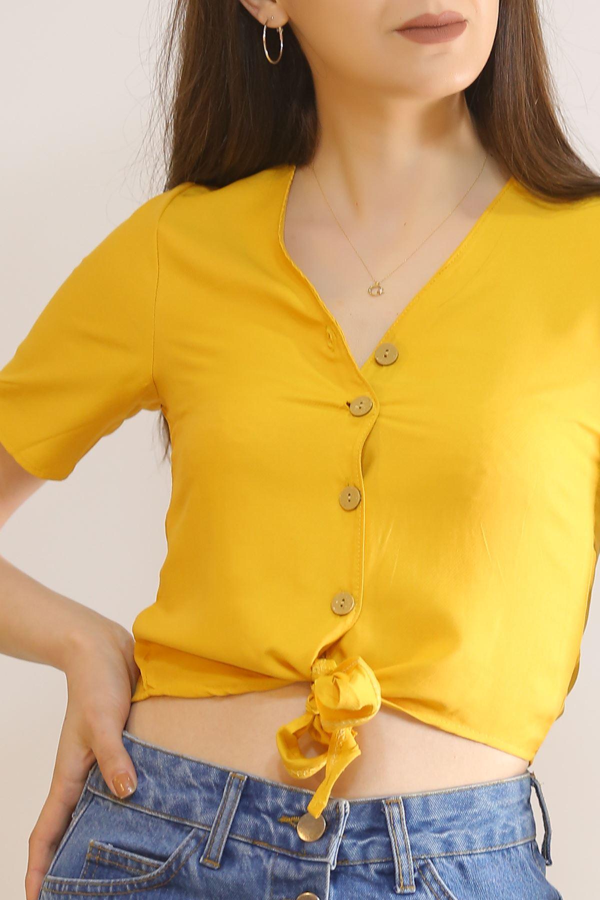 Altı Bağlamalı Bluz Sarı - 5835.1153.