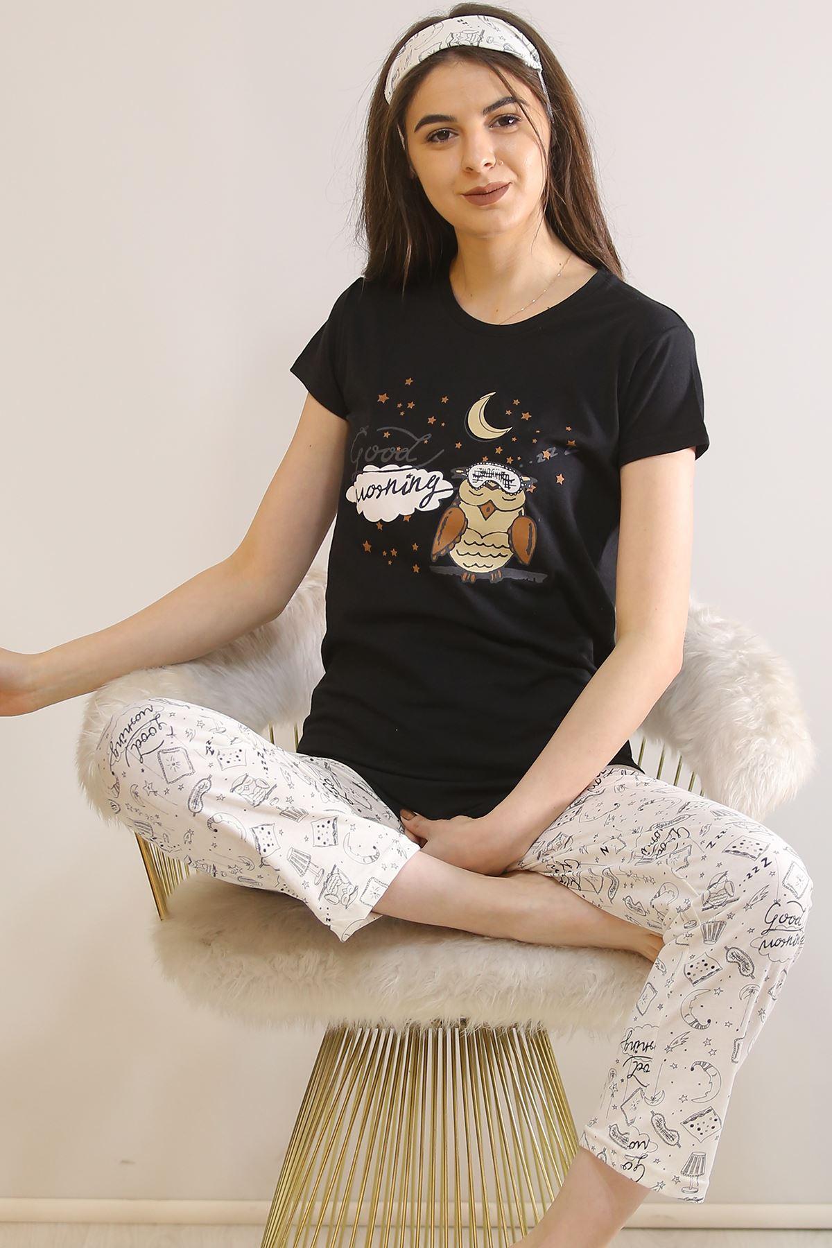 Baskılı Pijama Takımı Siyah - 21445.1059.