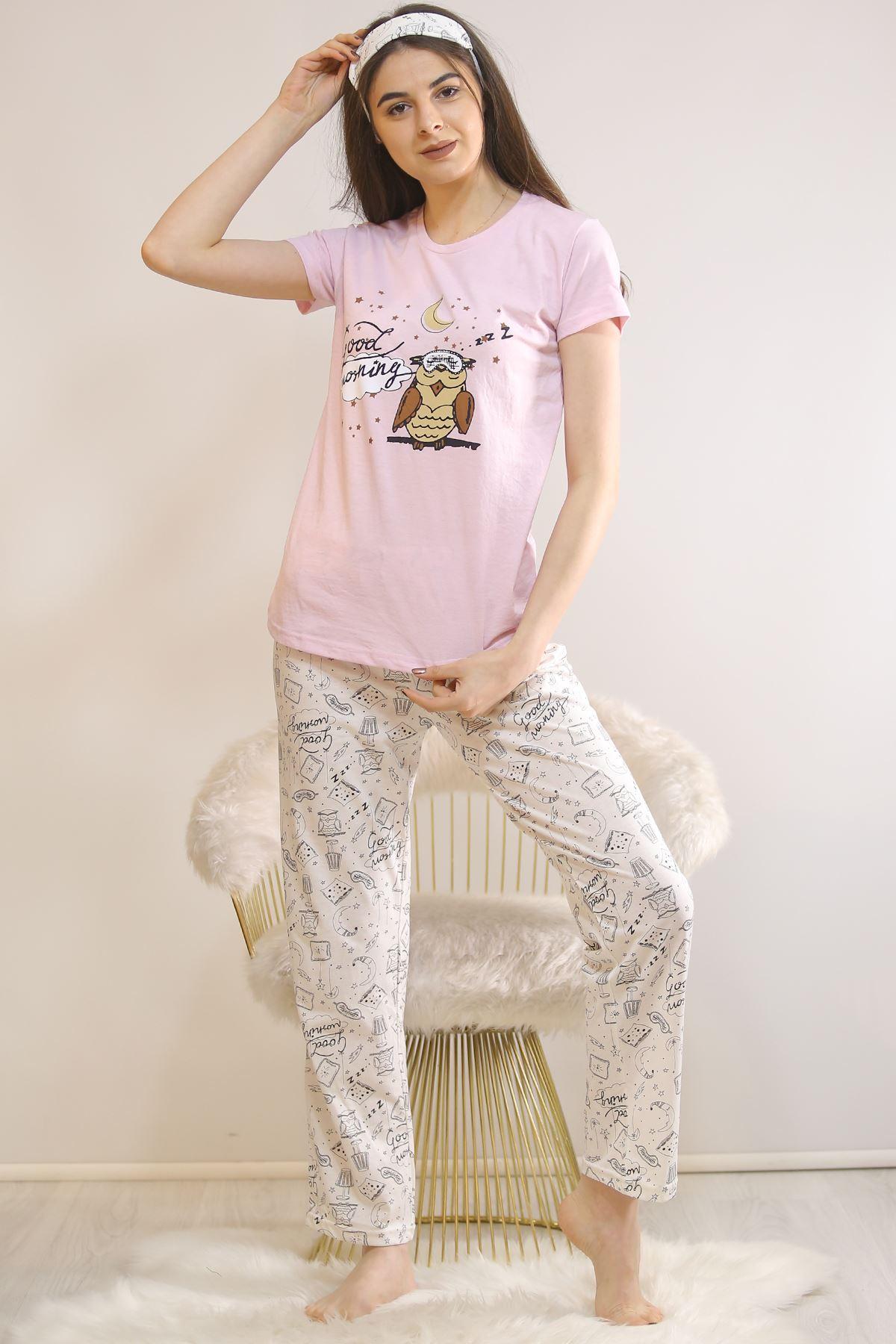 Baskılı Pijama Takımı Tozpembe - 21445.1059.