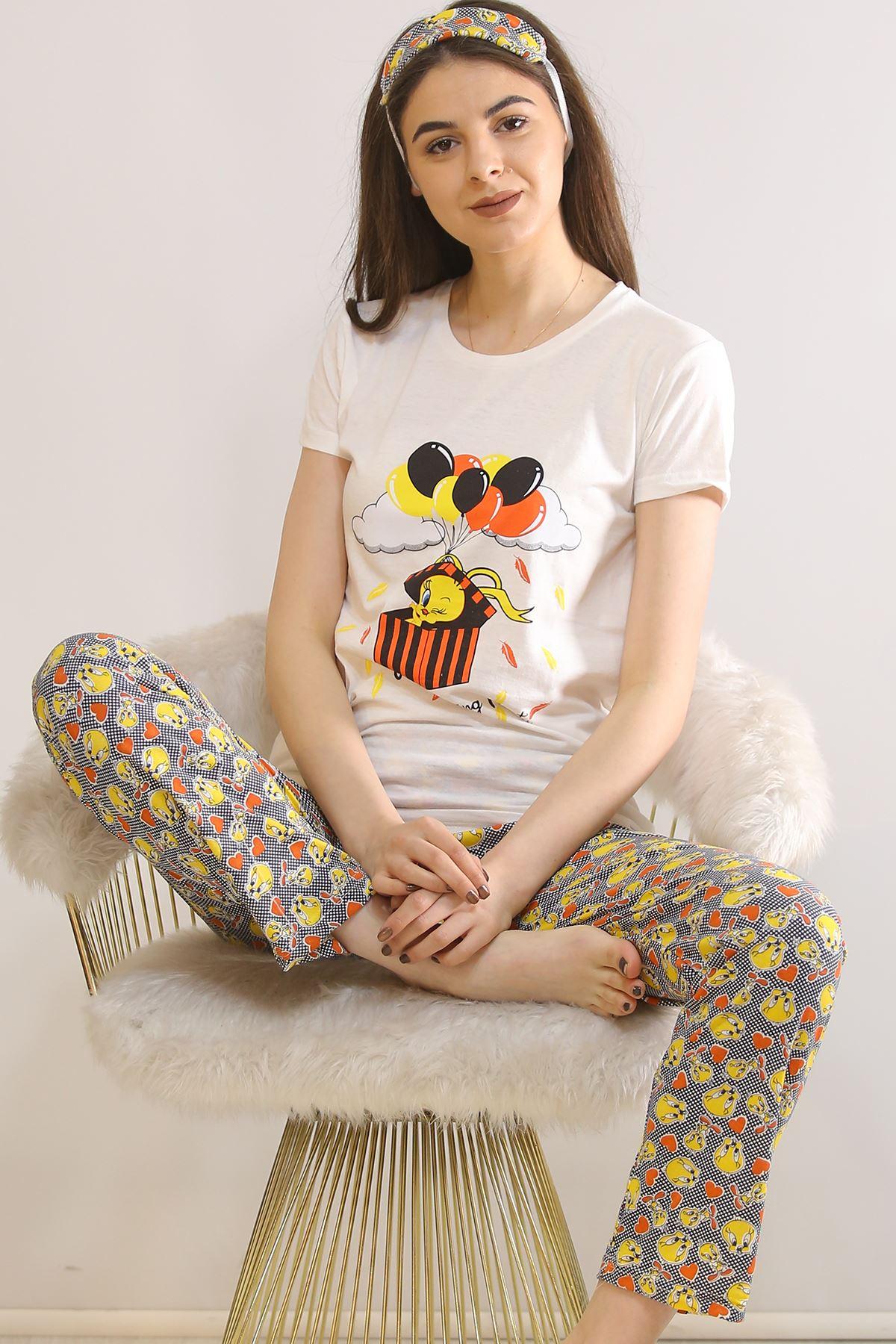 Baskılı Pijama Takımı Beyaz - 21827.1059.