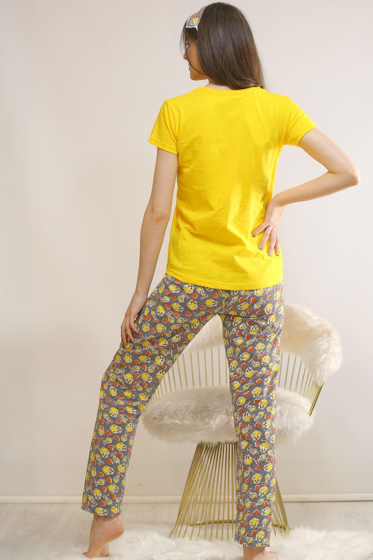 Baskılı Pijama Takımı Sarı - 21827.1059.