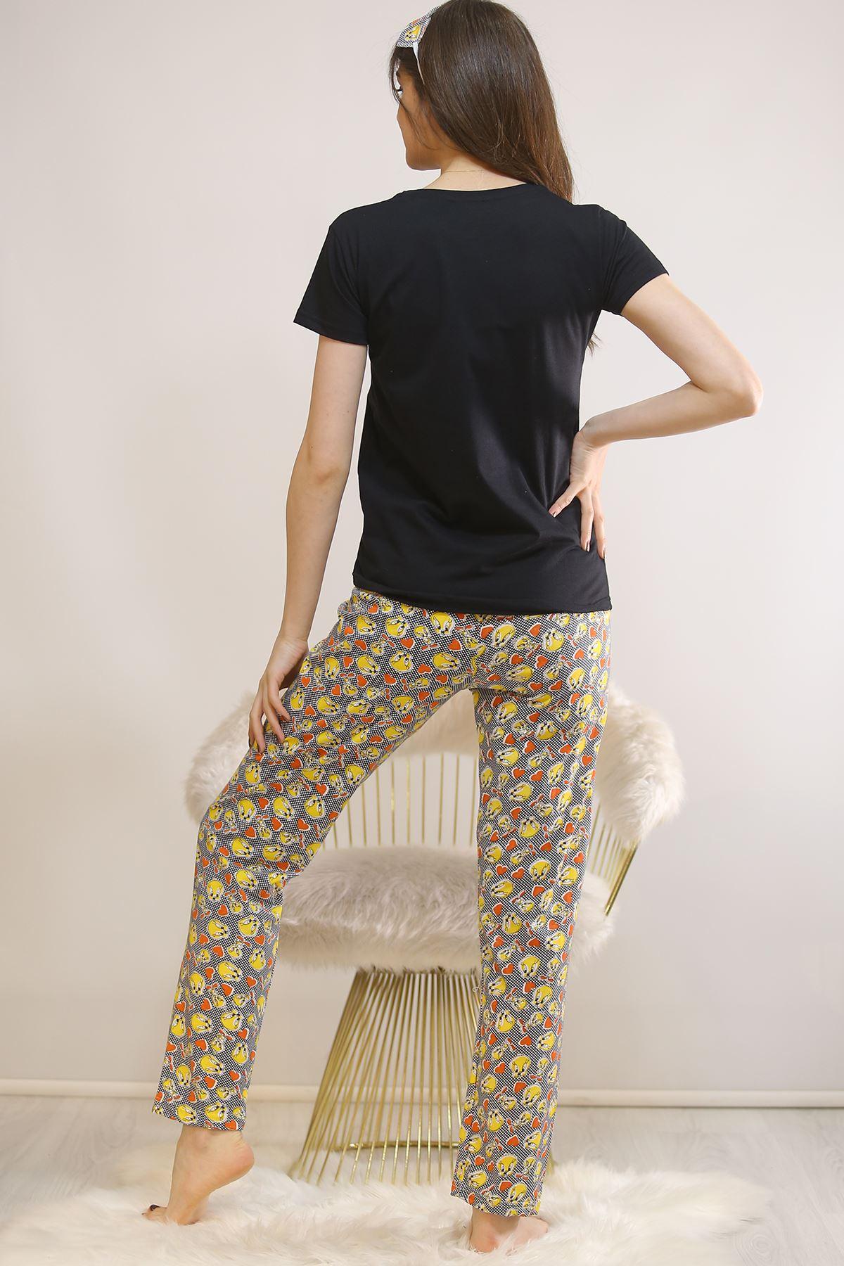 Baskılı Pijama Takımı Siyah - 21827.1059.