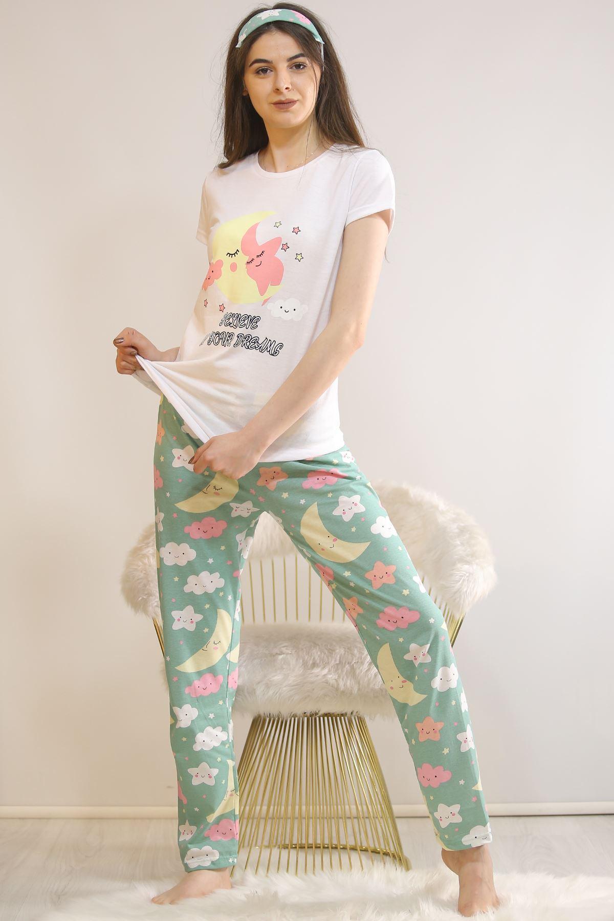 Baskılı Pijama Takımı Beyaz - 21834.1059.