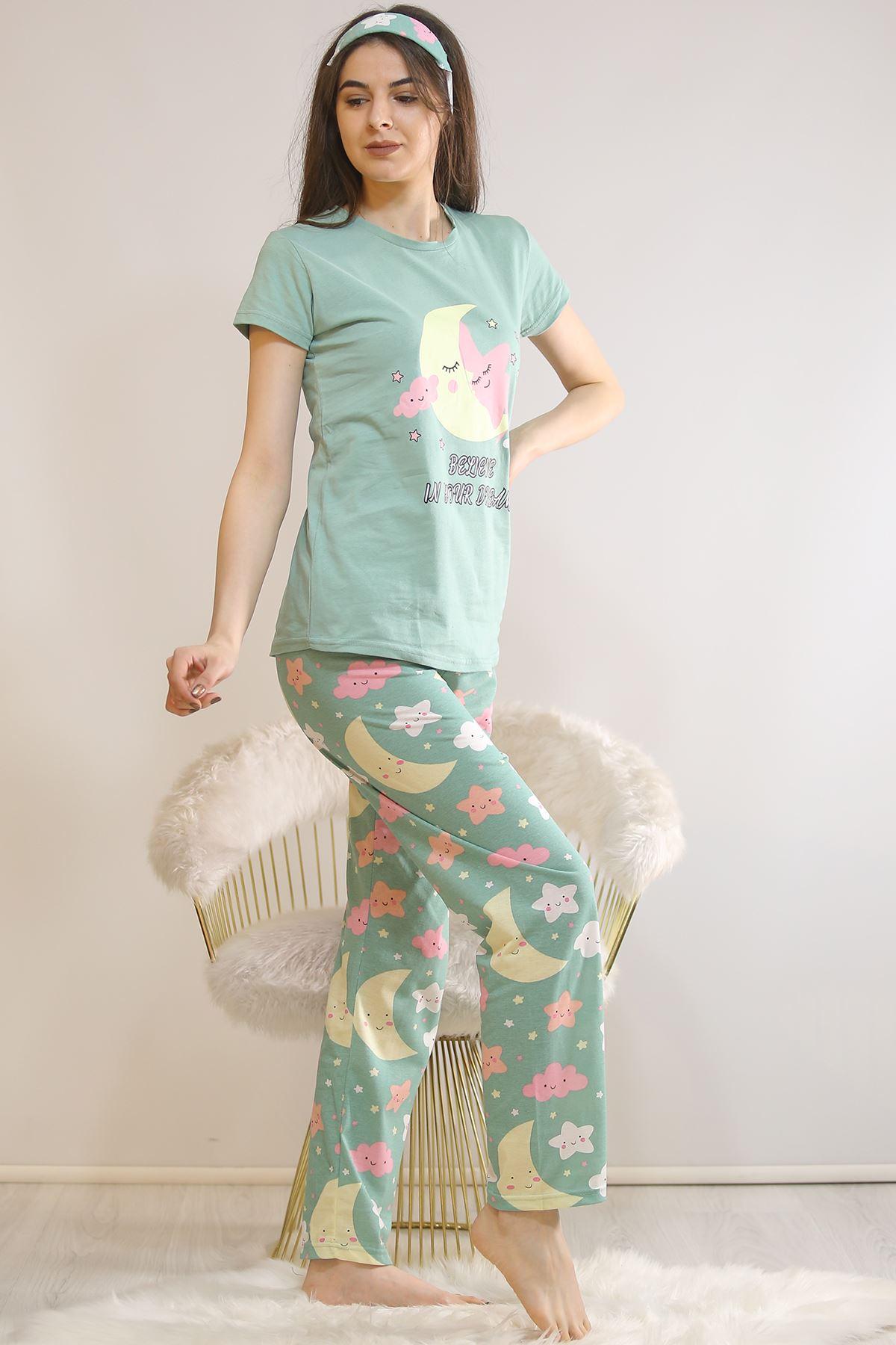 Baskılı Pijama Takımı Mint - 21834.1059.