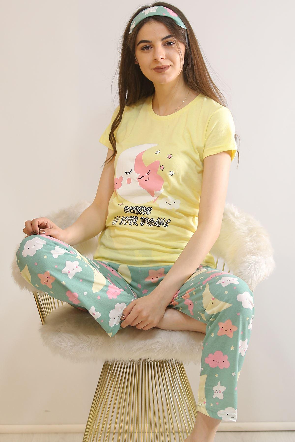 Baskılı Pijama Takımı Sarı - 21834.1059.