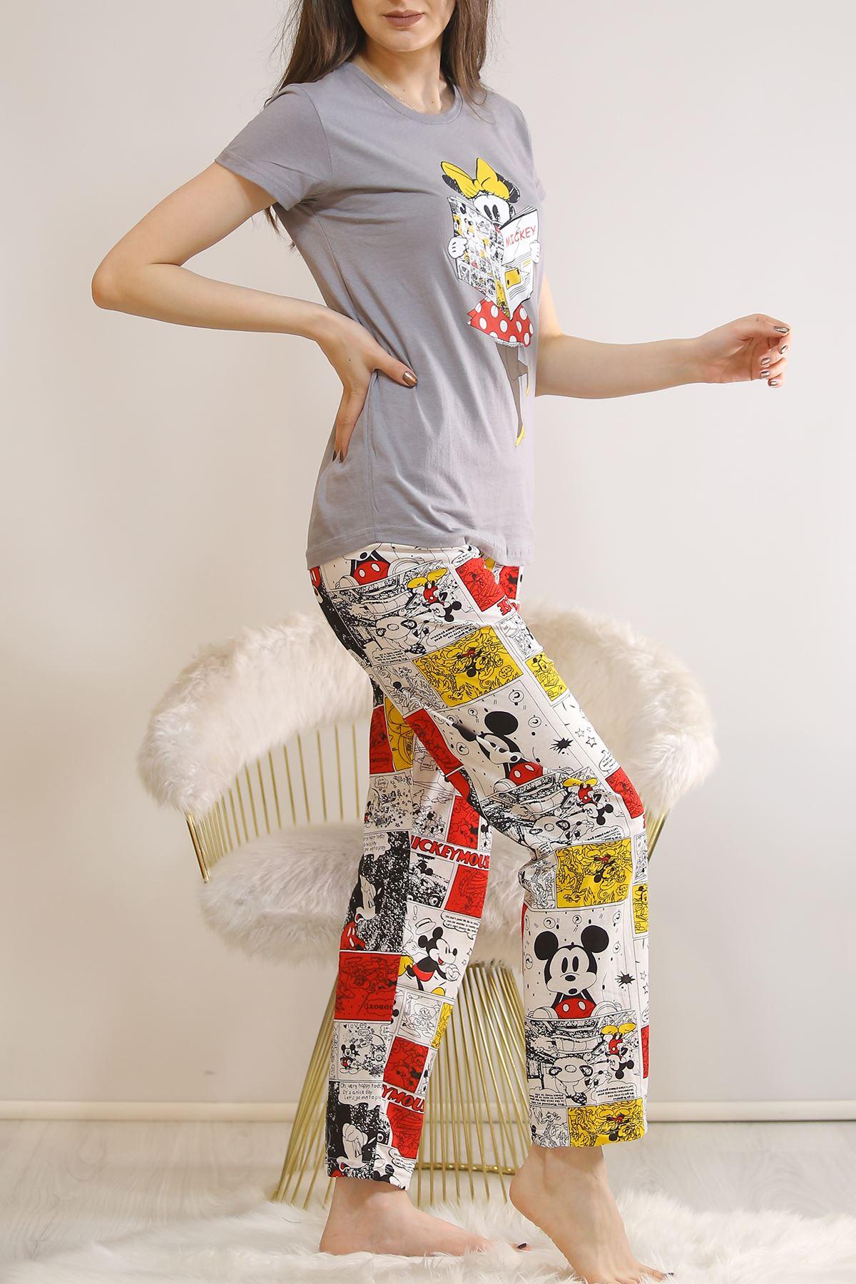 Baskılı Pijama Takımı Füme - 21877.1059.