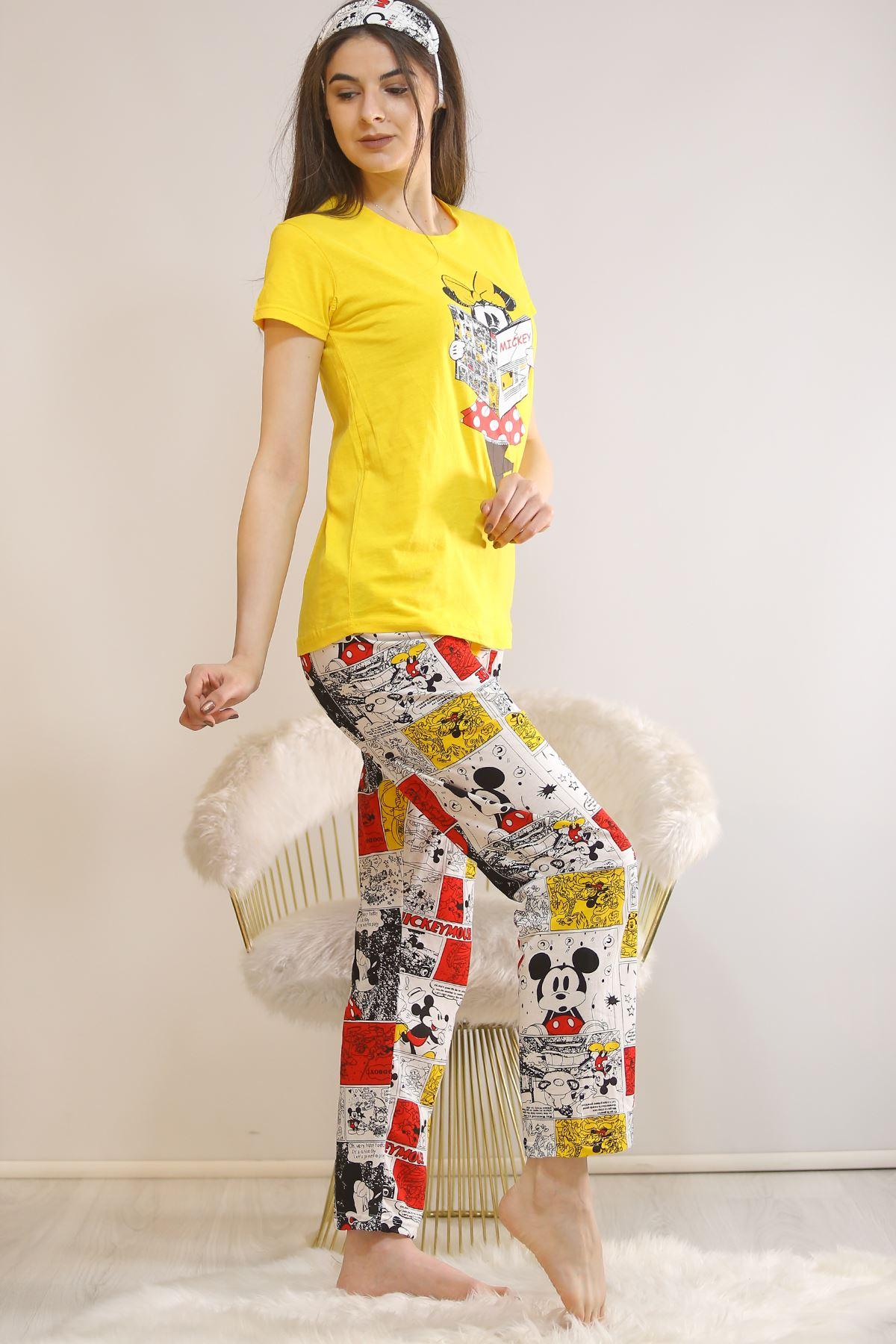 Baskılı Pijama Takımı Sarı - 21877.1059.
