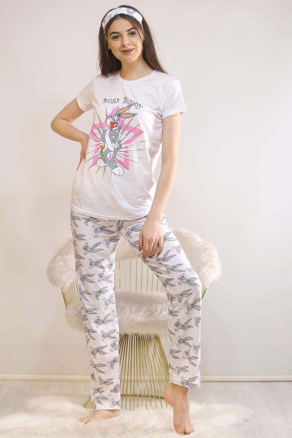 Baskılı Pijama Takımı Beyaz - 21879.1059.