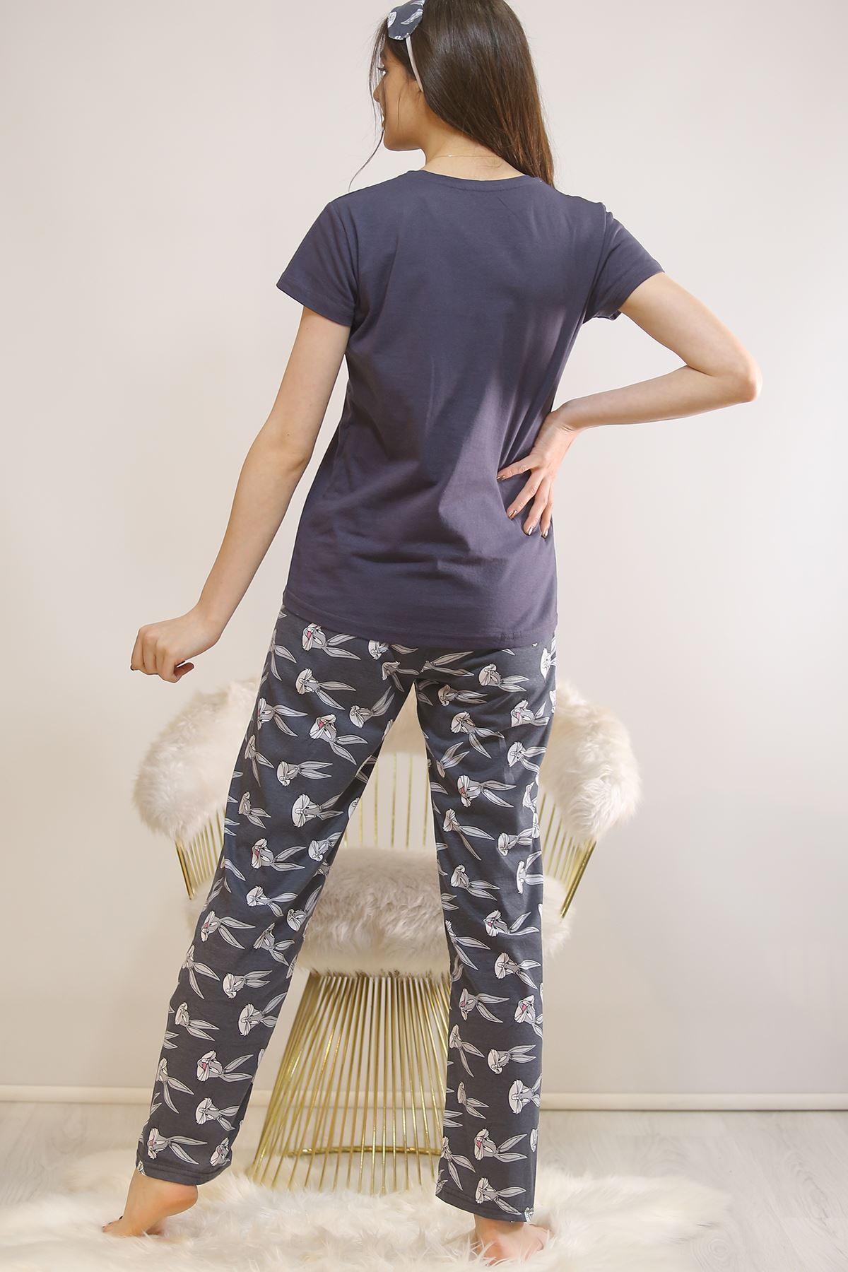Baskılı Pijama Takımı Füme - 21879.1059.