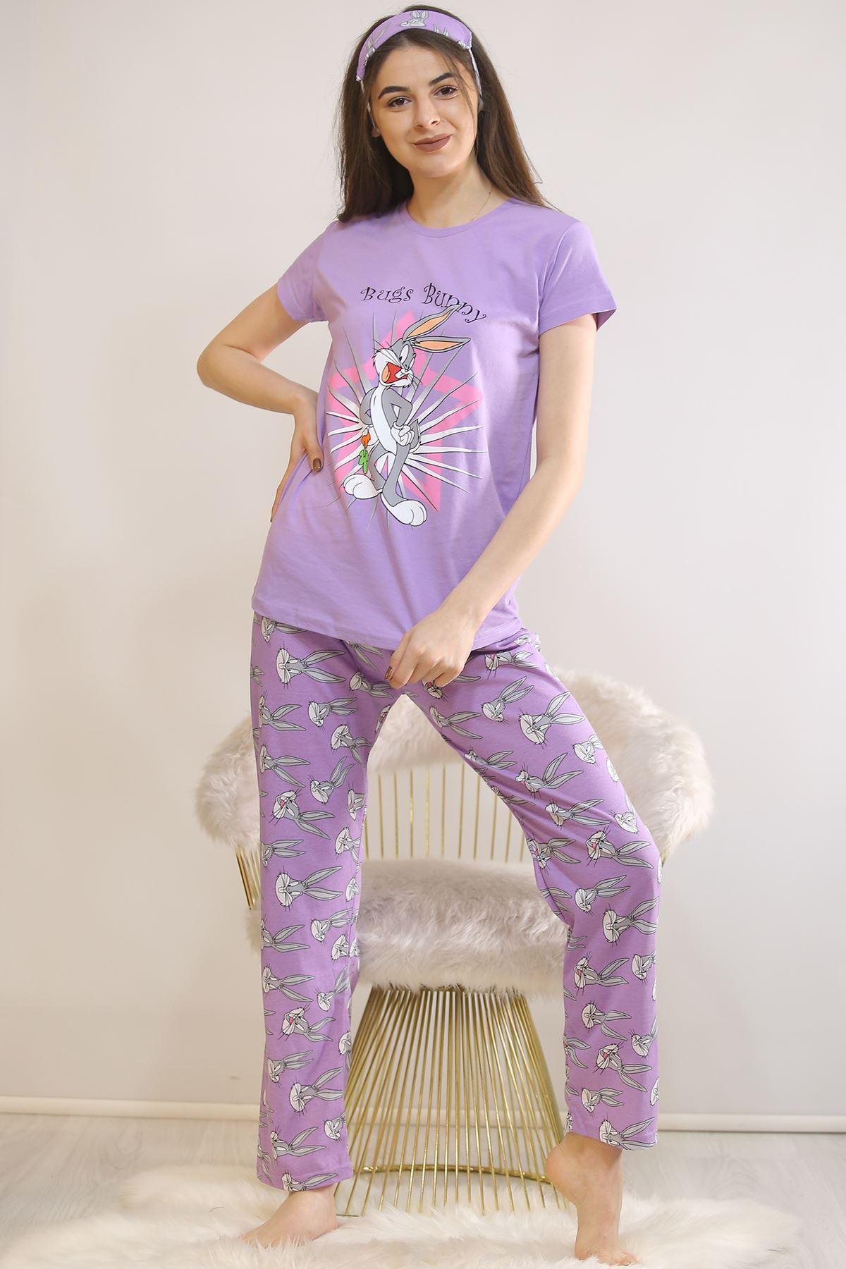 Baskılı Pijama Takımı Lila - 21879.1059.