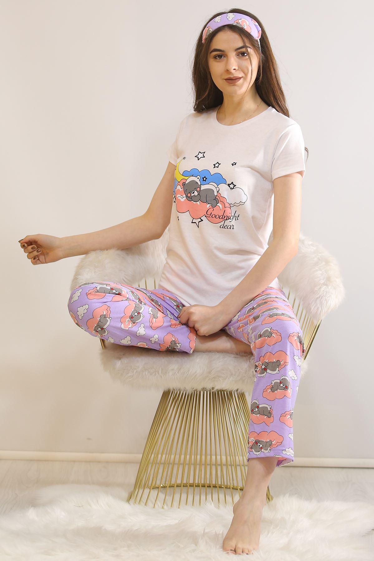 Baskılı Pijama Takımı Beyaz - 21442.1059.