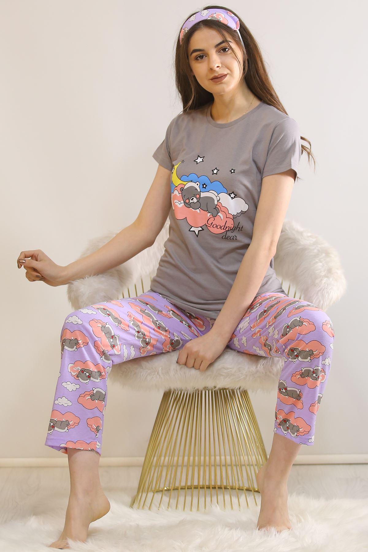 Baskılı Pijama Takımı Füme - 21442.1059.