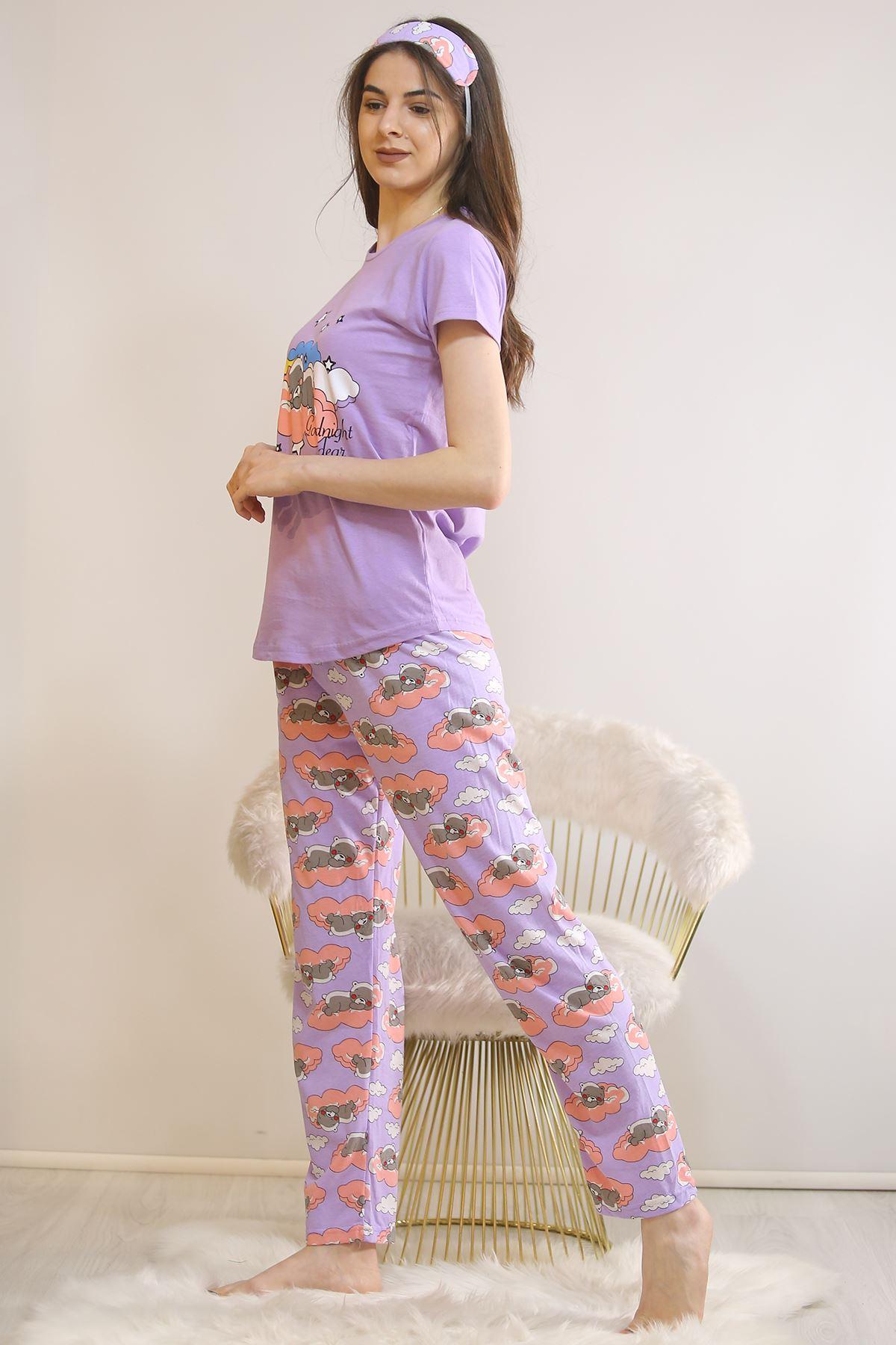 Baskılı Pijama Takımı Lila - 21442.1059.