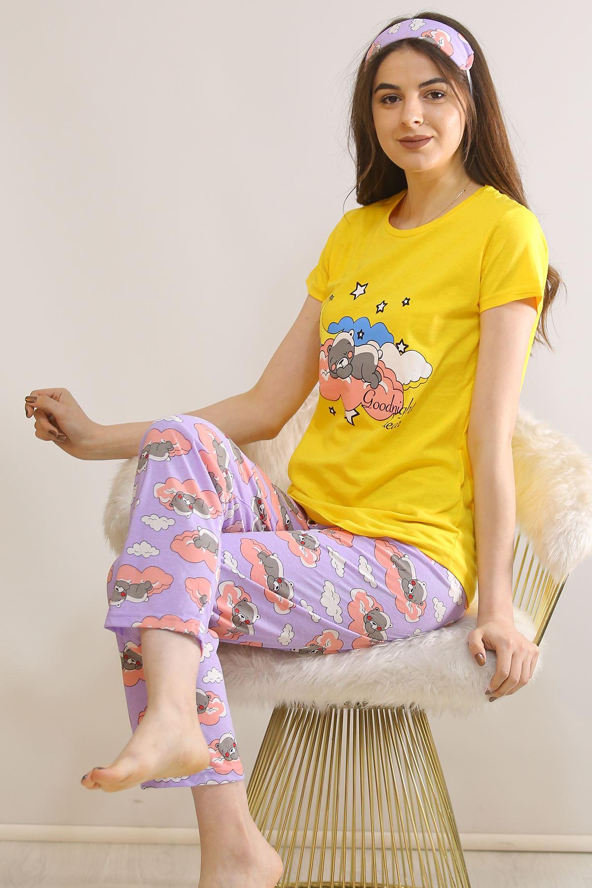 Baskılı Pijama Takımı Sarı - 21442.1059.