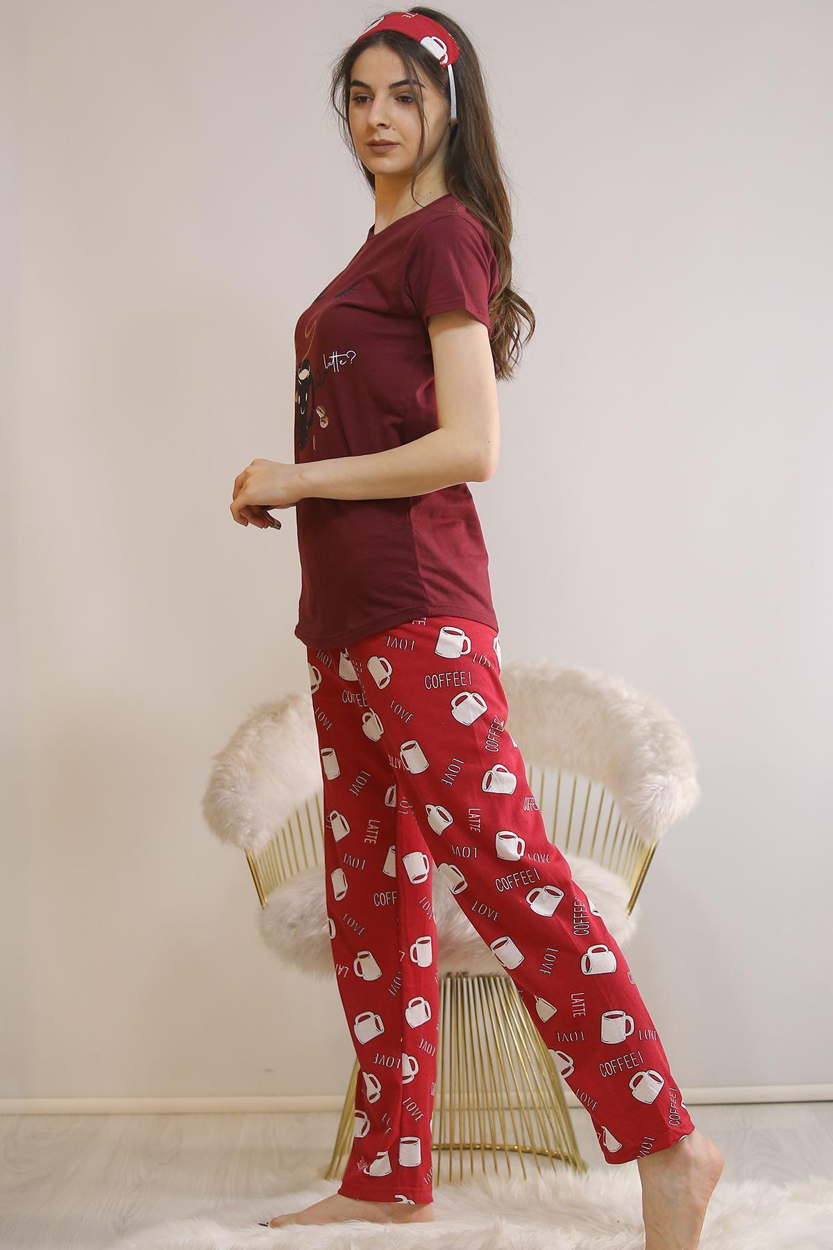 Baskılı Pijama Takımı Bordo - 21443.1059.