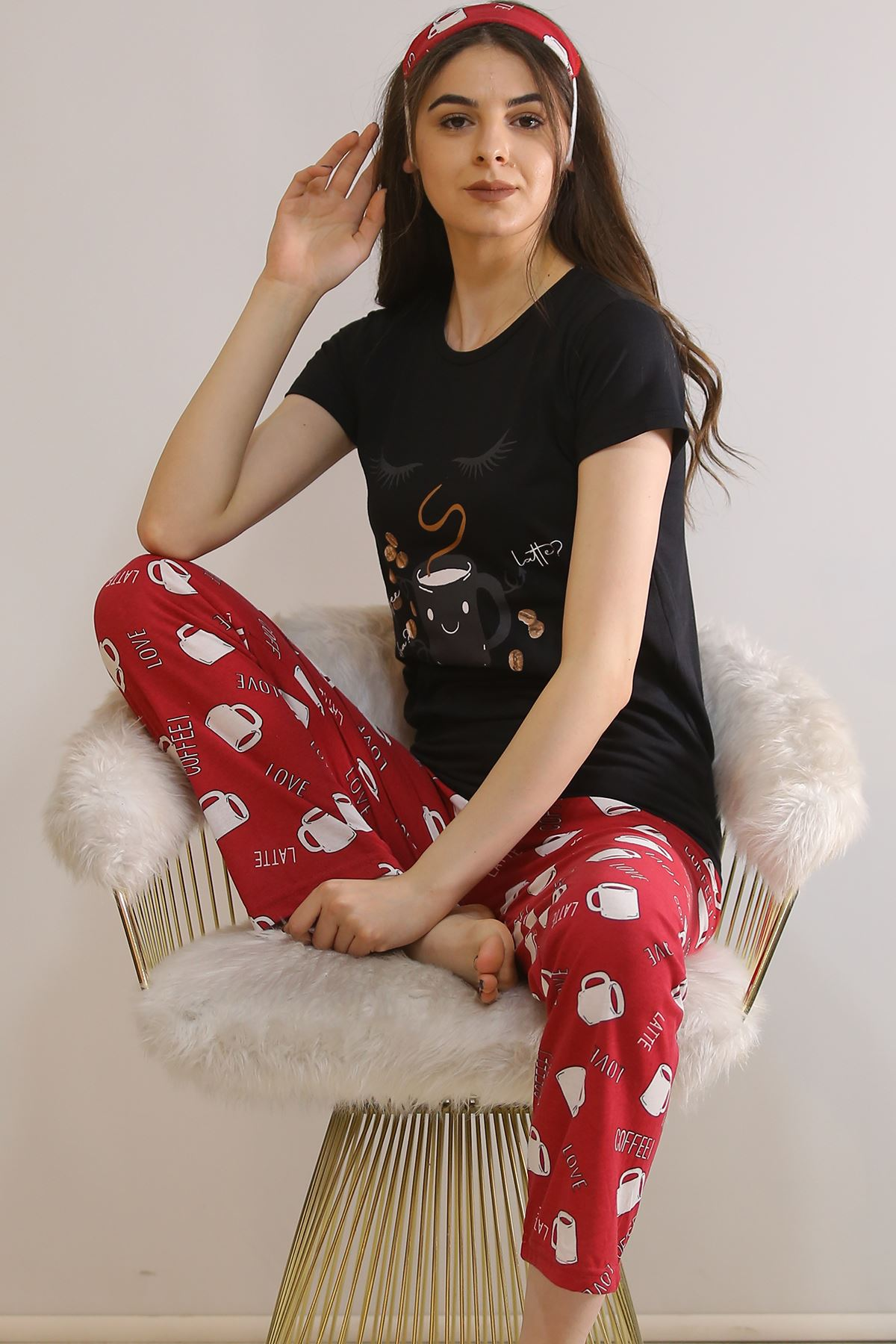 Baskılı Pijama Takımı Siyah - 21443.1059.