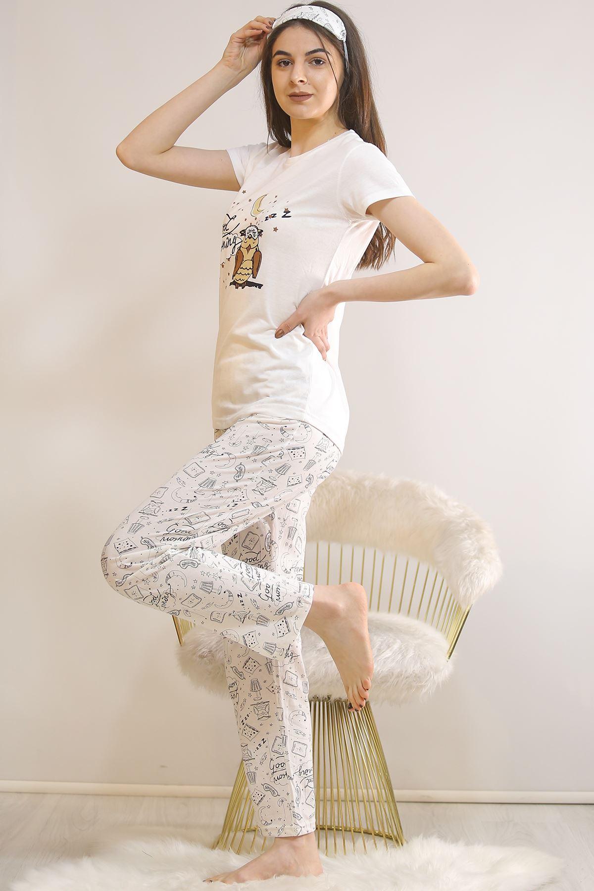 Baskılı Pijama Takımı Beyaz - 21445.1059.