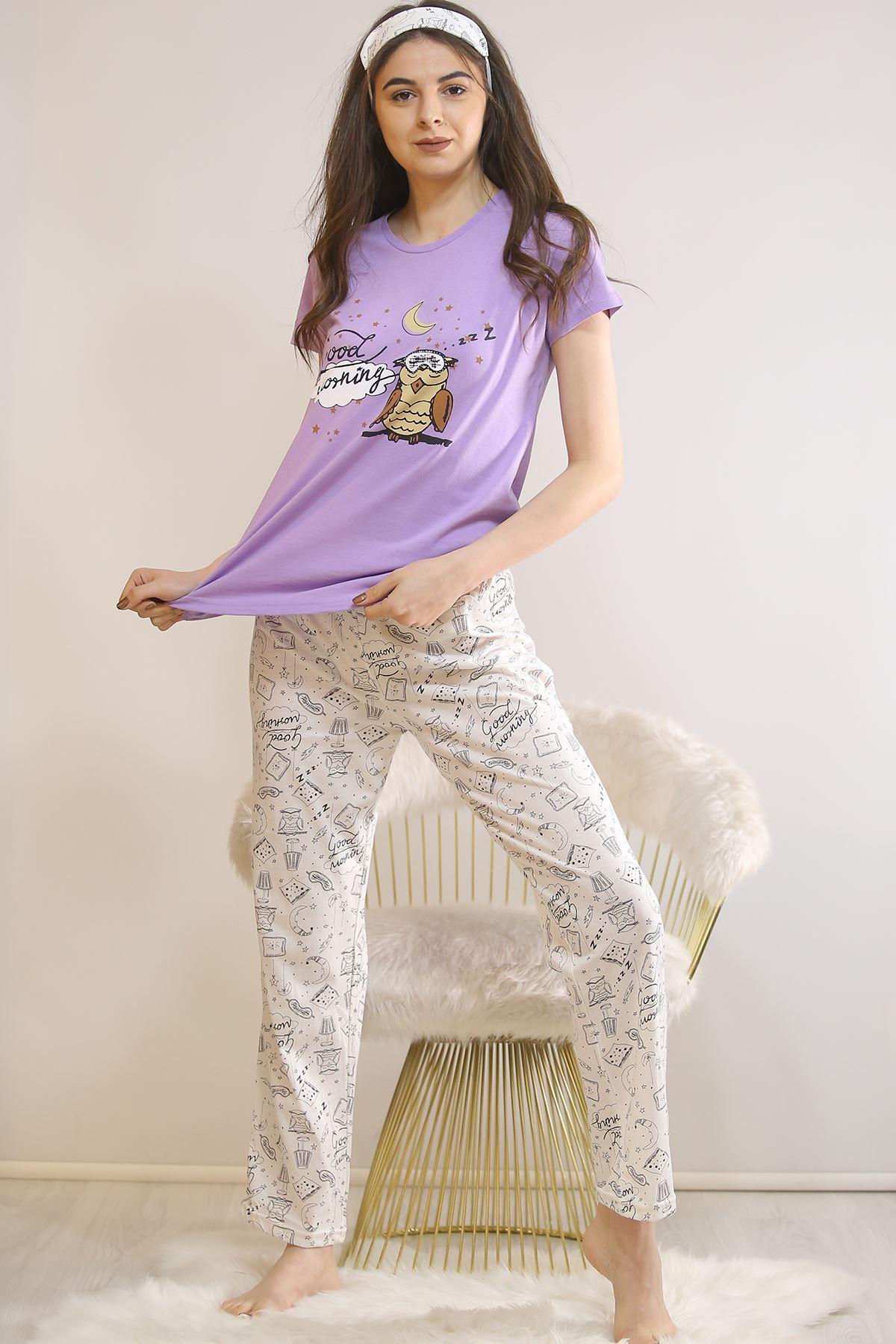 Baskılı Pijama Takımı Lila - 21445.1059.