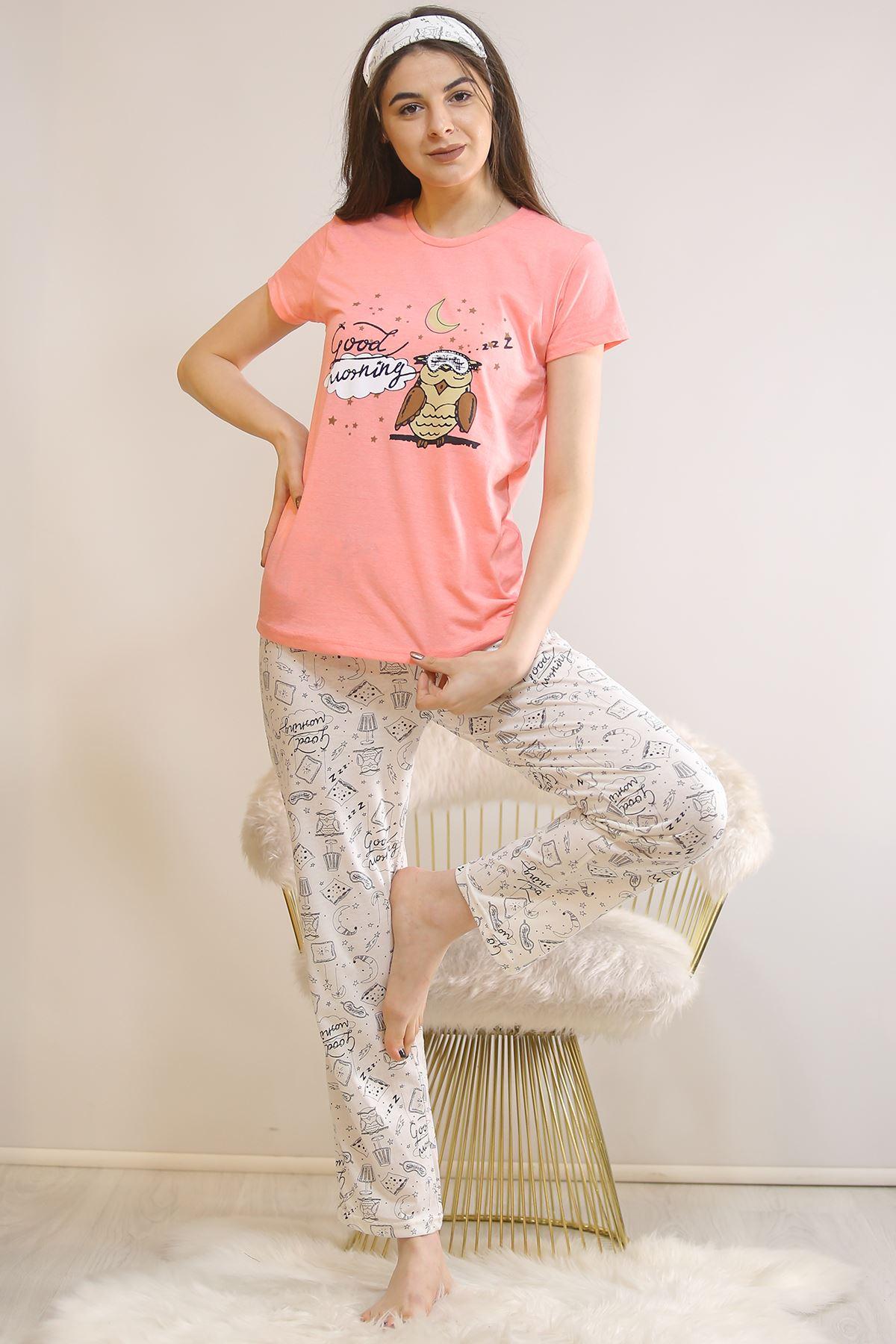 Baskılı Pijama Takımı Pembe - 21445.1059.