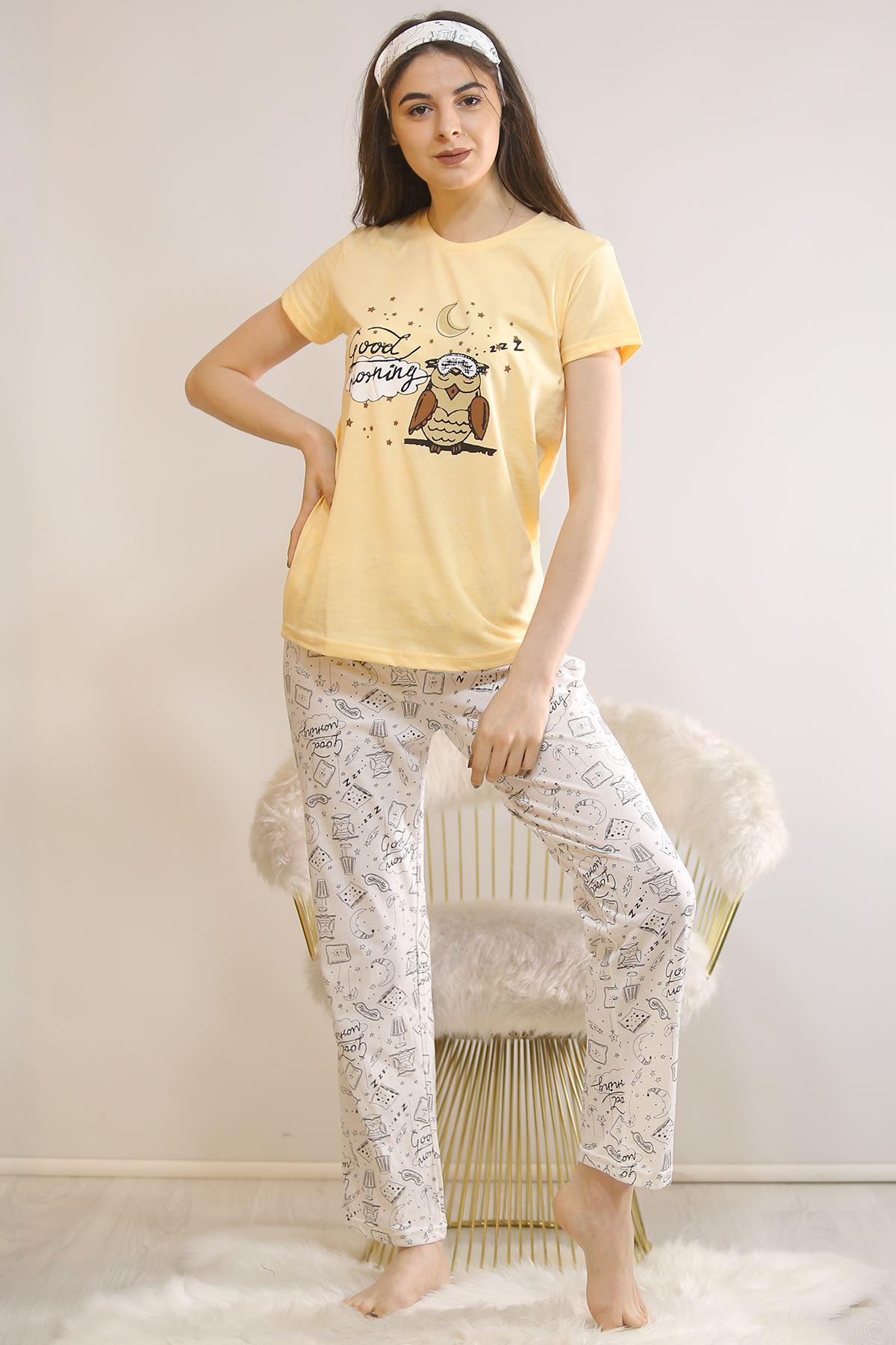 Baskılı Pijama Takımı Sarı - 21445.1059.