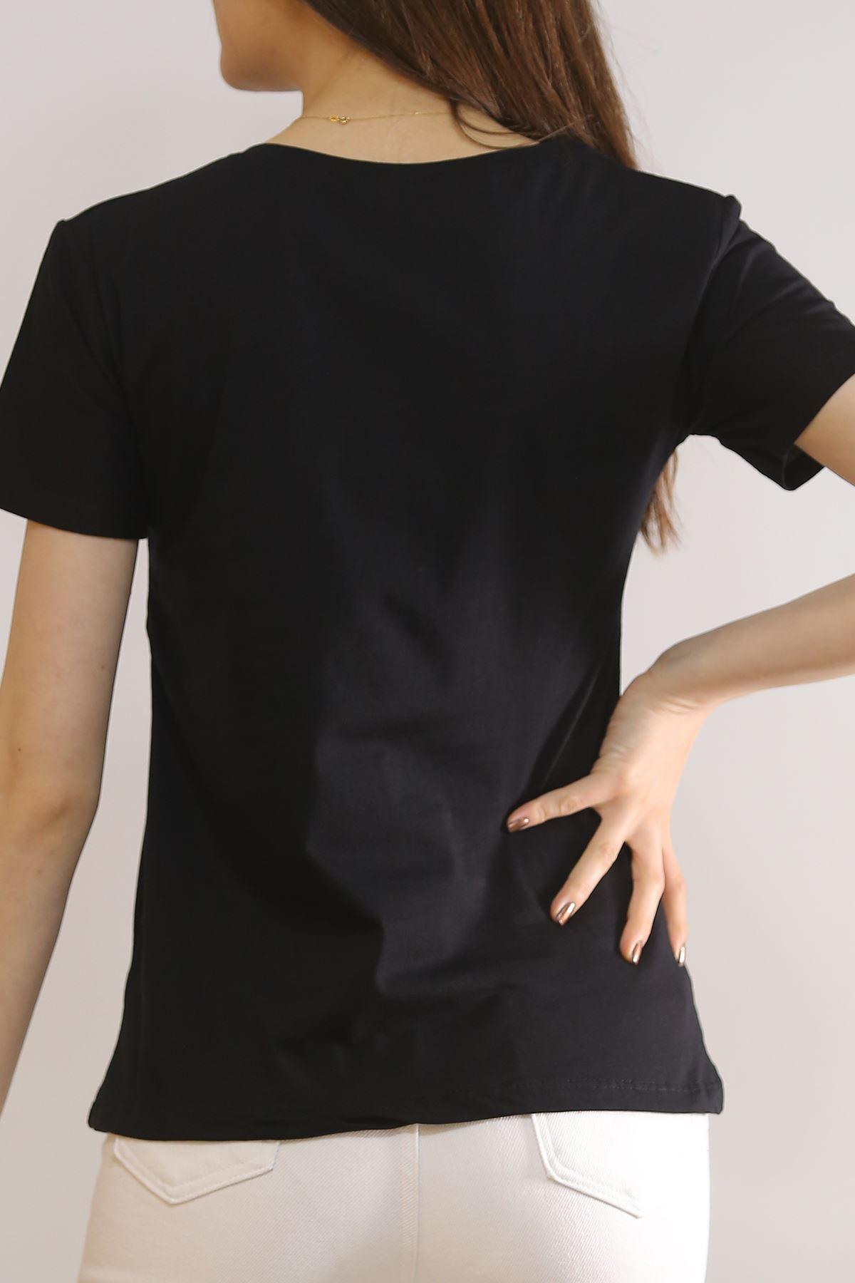 Pullu Baskılı Tişört Siyah - 2136.336.