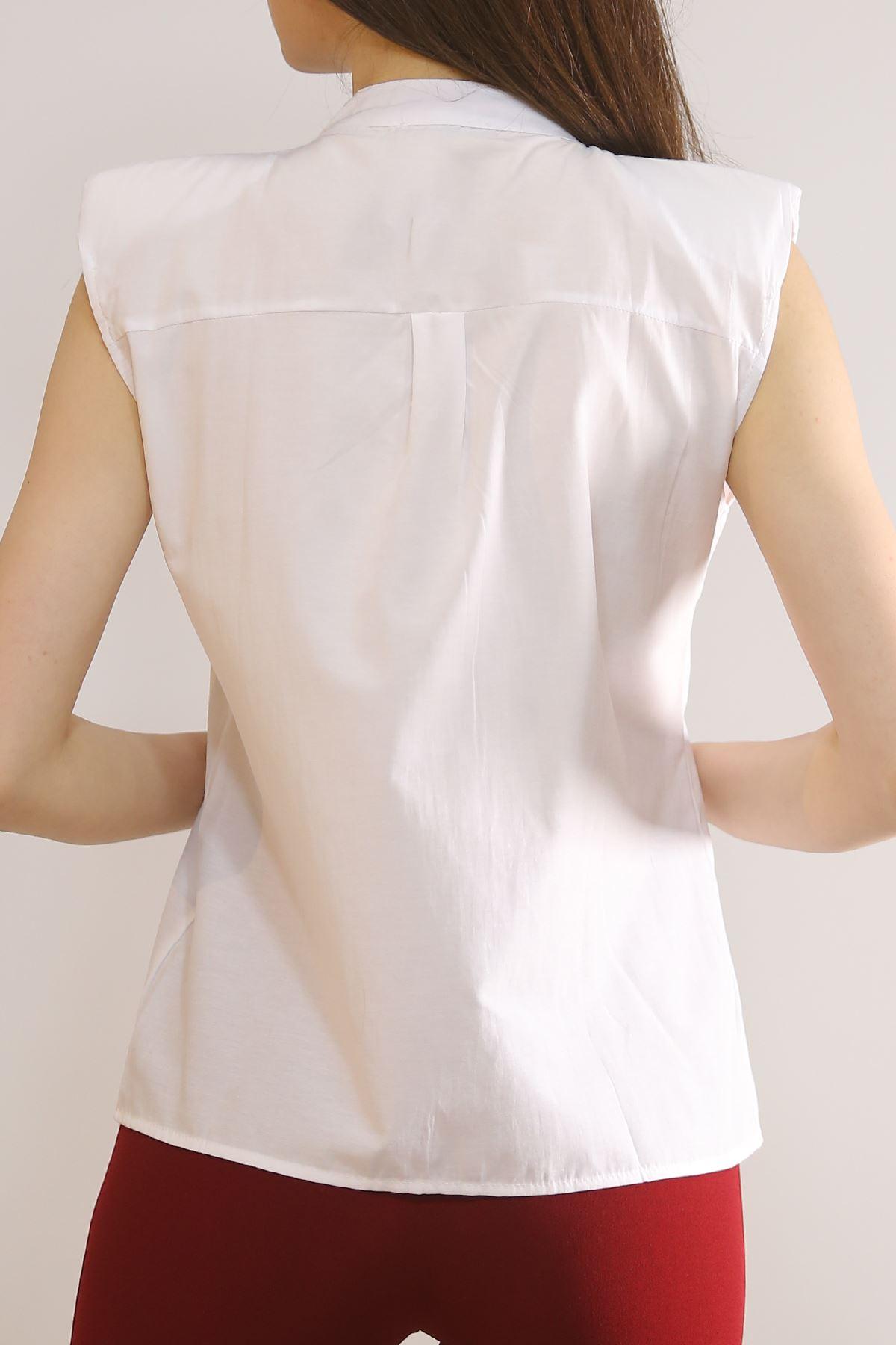 Omuz Vatkalı Gömlek Beyaz - 4771.148.
