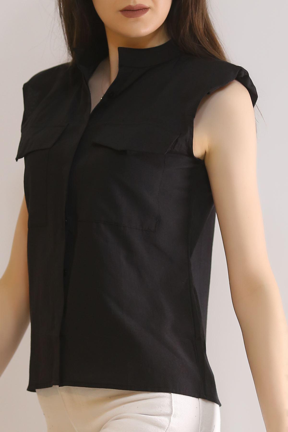 Omuz Vatkalı Gömlek Siyah - 4771.148.