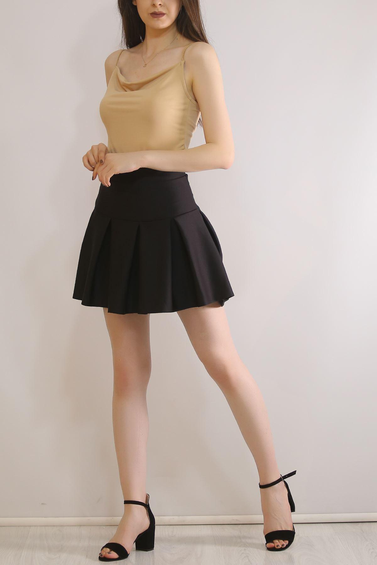 Pileli Dalgıç Mini Etek Siyah - 4874.148.