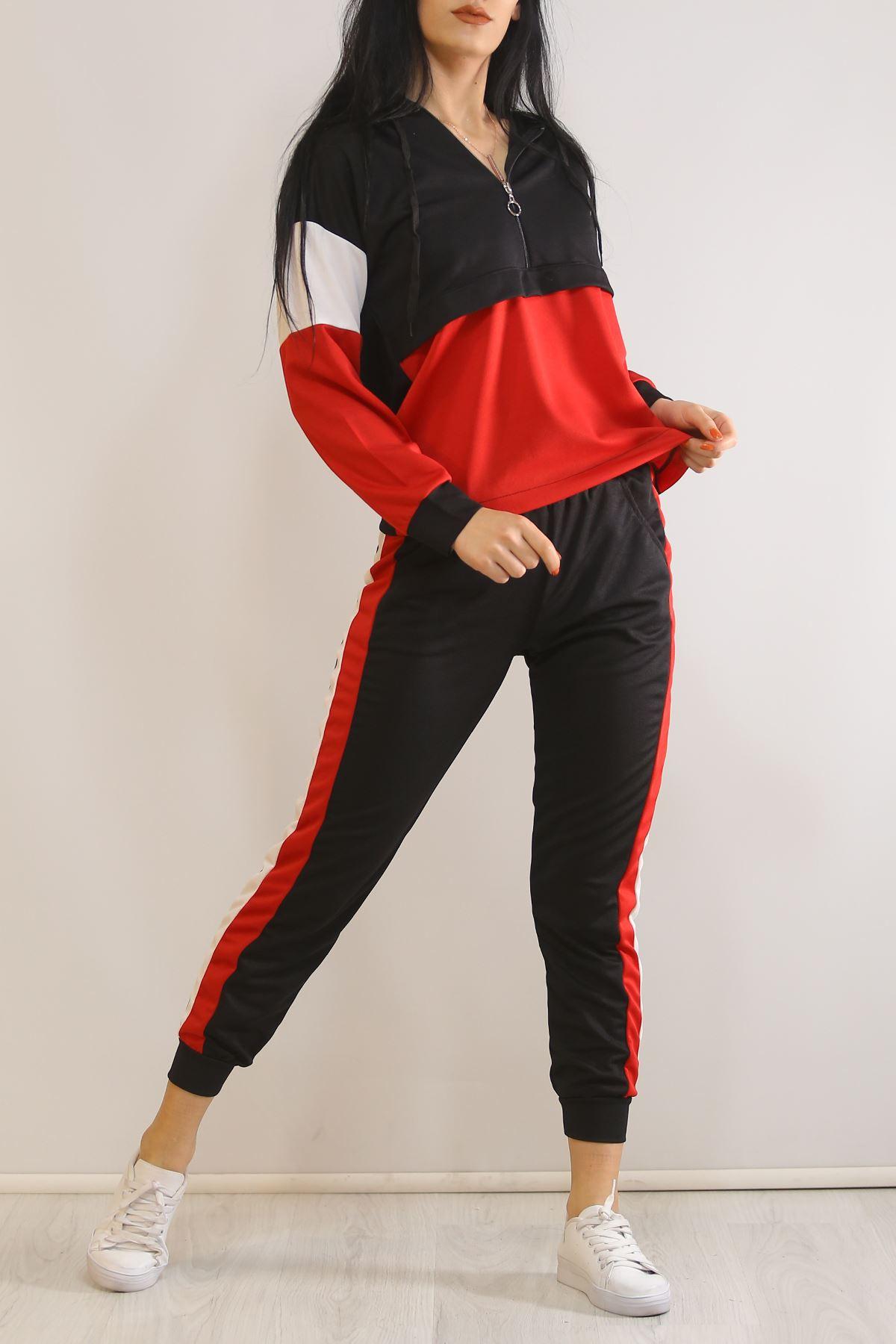 Kadın Eşofman Takımı Siyahkırmızı - 5325.1286.