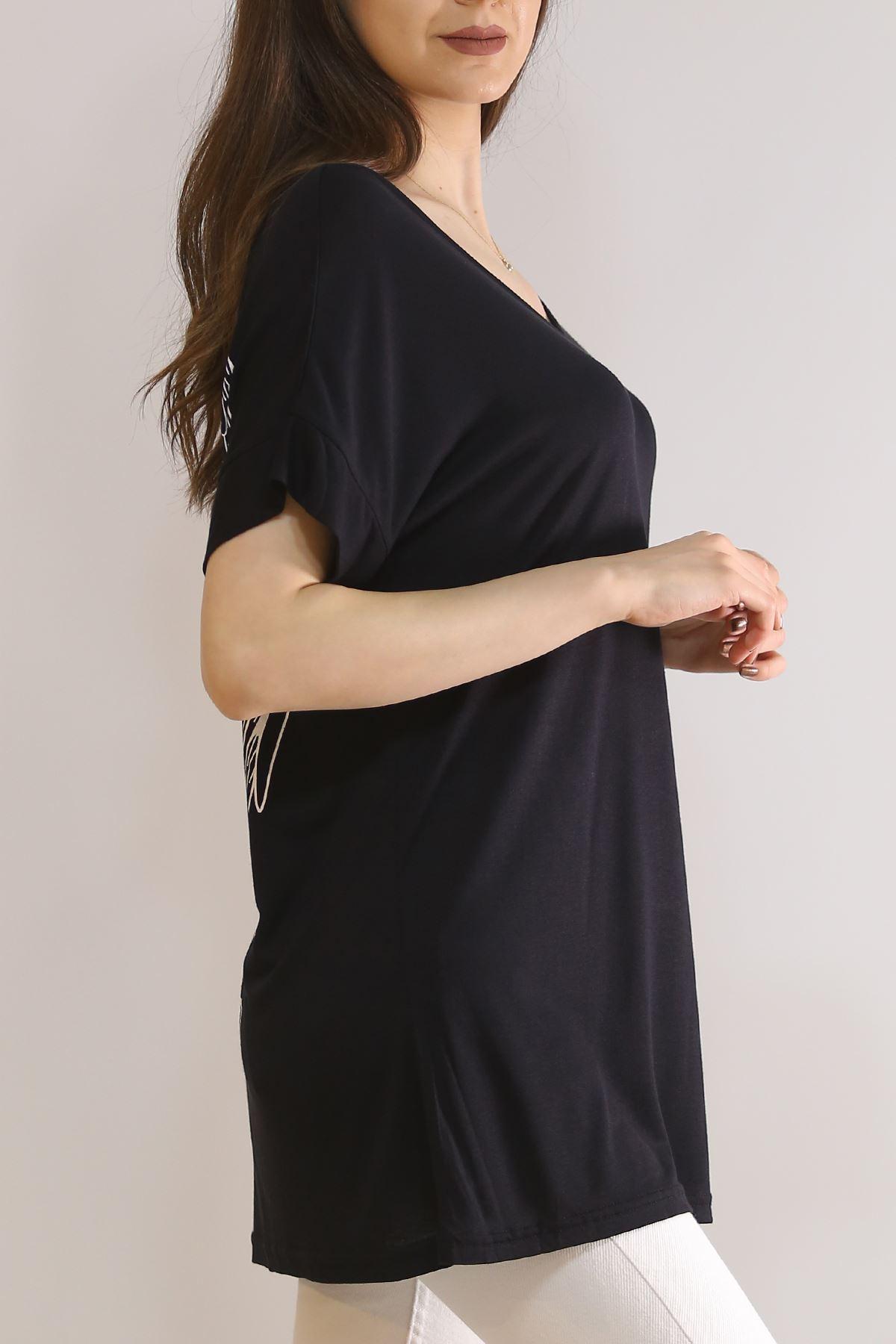 Kanat Baskılı Tişört Siyah - 5825.1092.