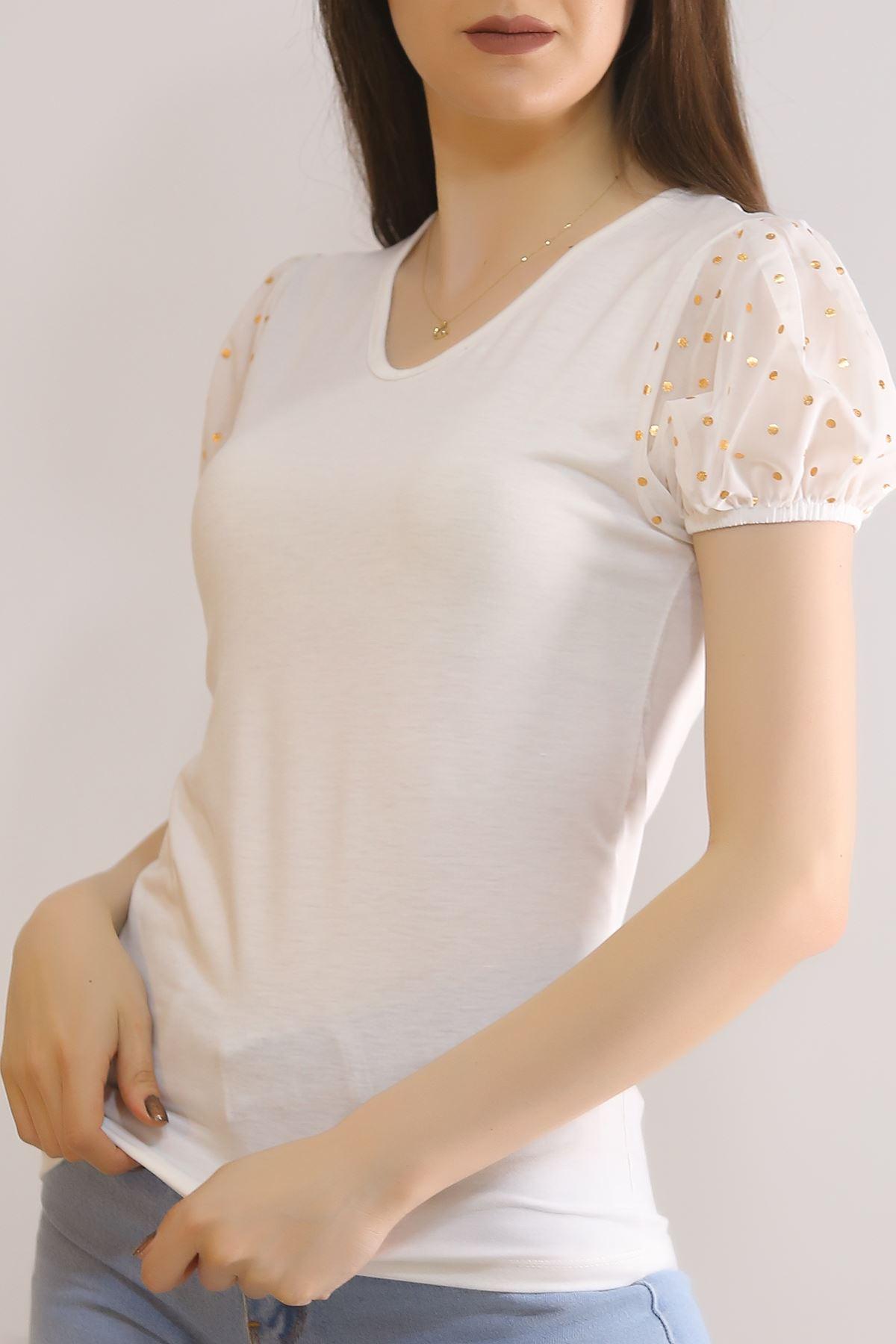 Kısa Kol Bluz Beyaz - 5837.107.