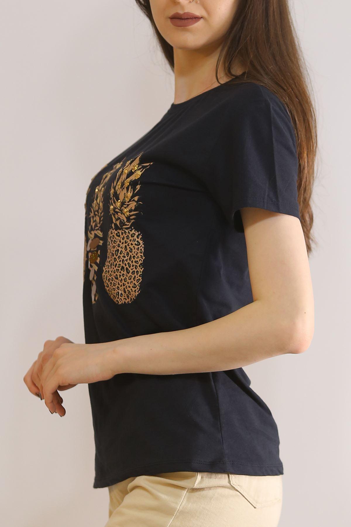 Ananas Baskılı Tişört Siyah - 5851.336.