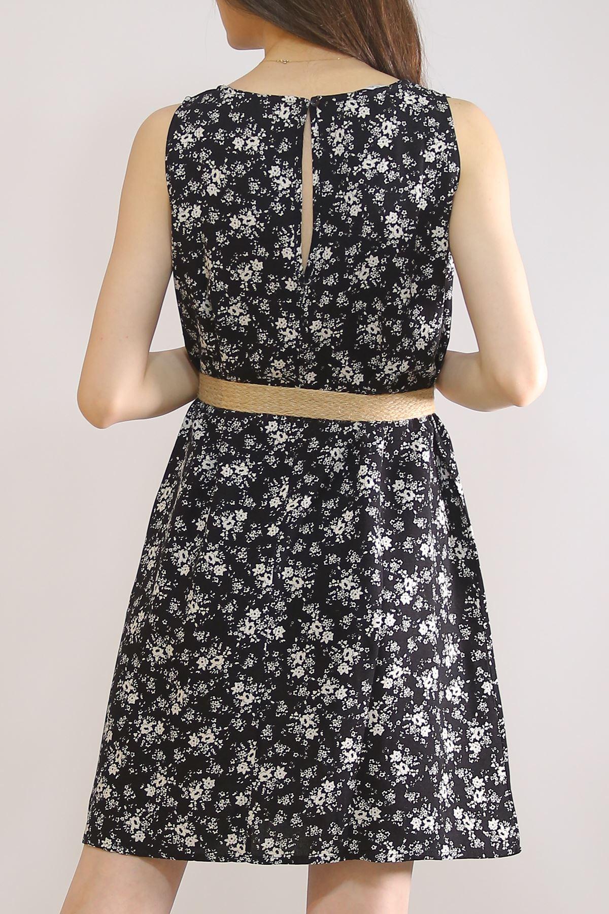 Sıfır Kol Keten Elbise Siyahçiçekli - 5841.128.
