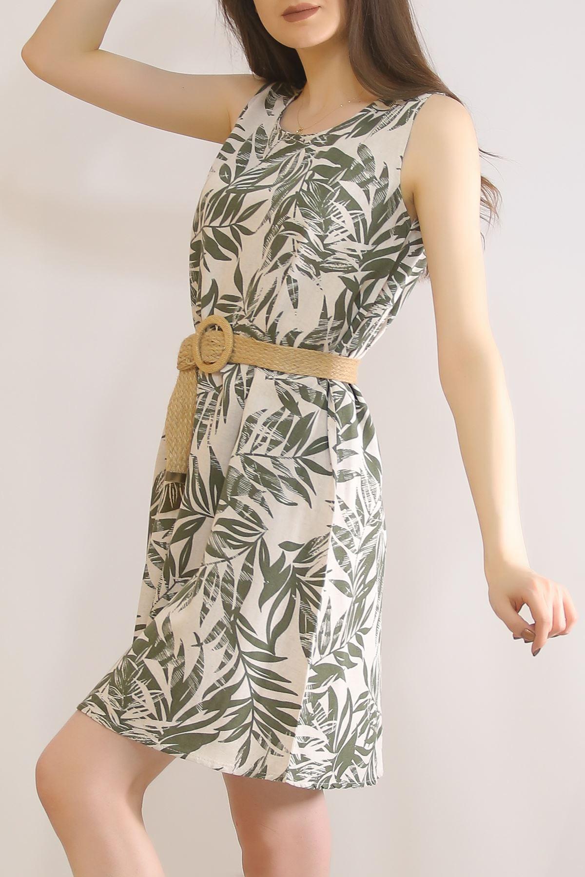 Sıfır Kol Keten Elbise Yeşilçiçekli - 5841.128.