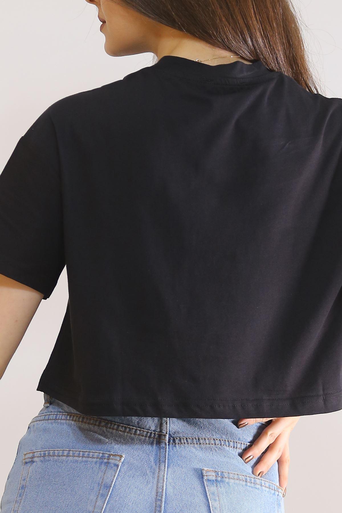 Baskılı Crop Tişört Siyah - 5844.1377.