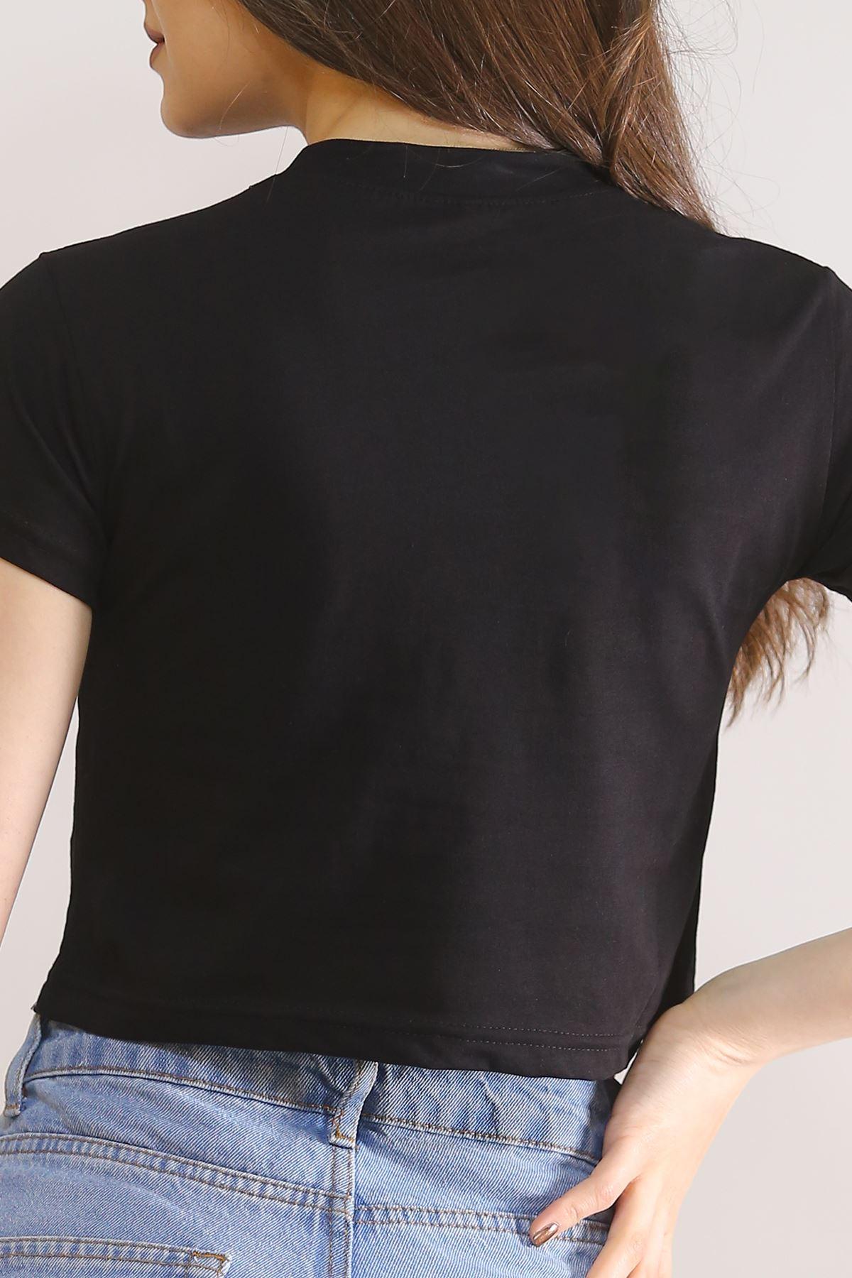 Baskılı Crop Tişört Siyah - 5845.1377.