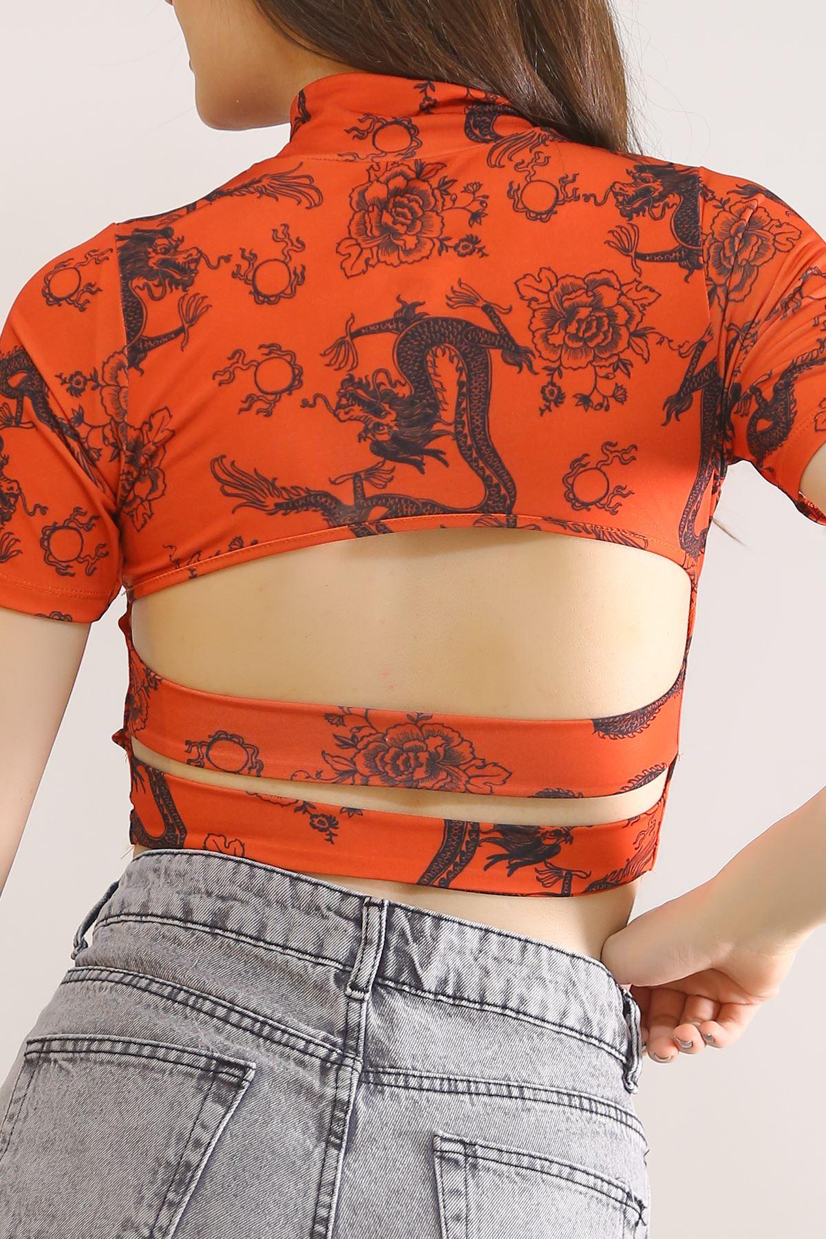 Digital Baskı Crop Tişört Oranj - 5846.1247.