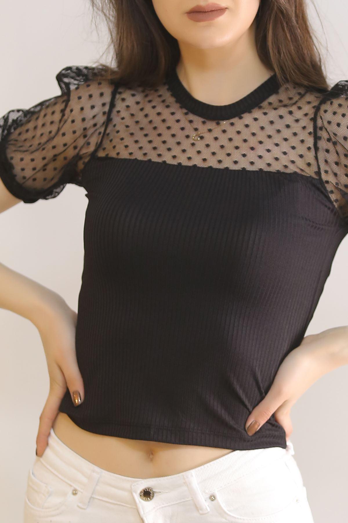 Önü Dantelli Bluz Siyah - 5854.224.