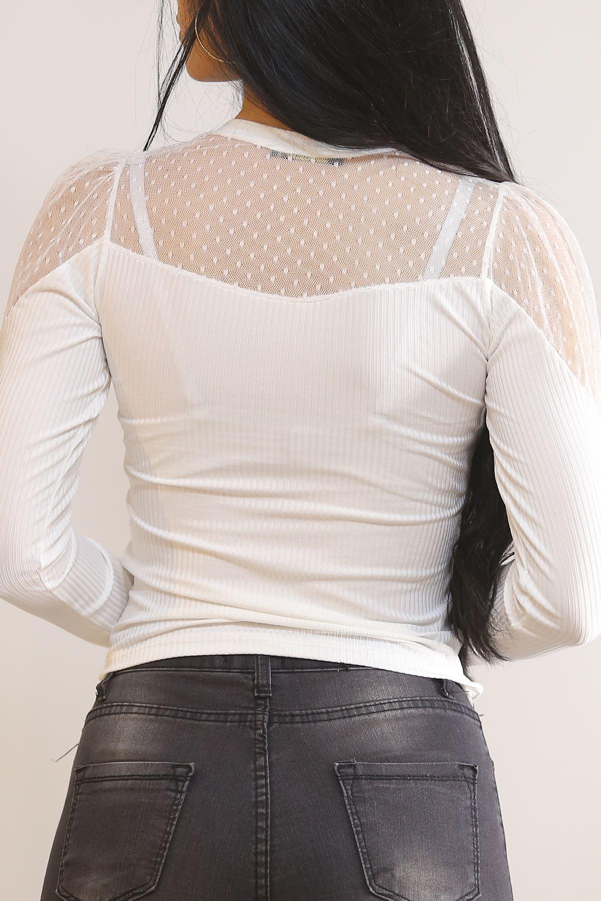 Arkası Önü Dantelli Bluz Beyaz - 5855.224.