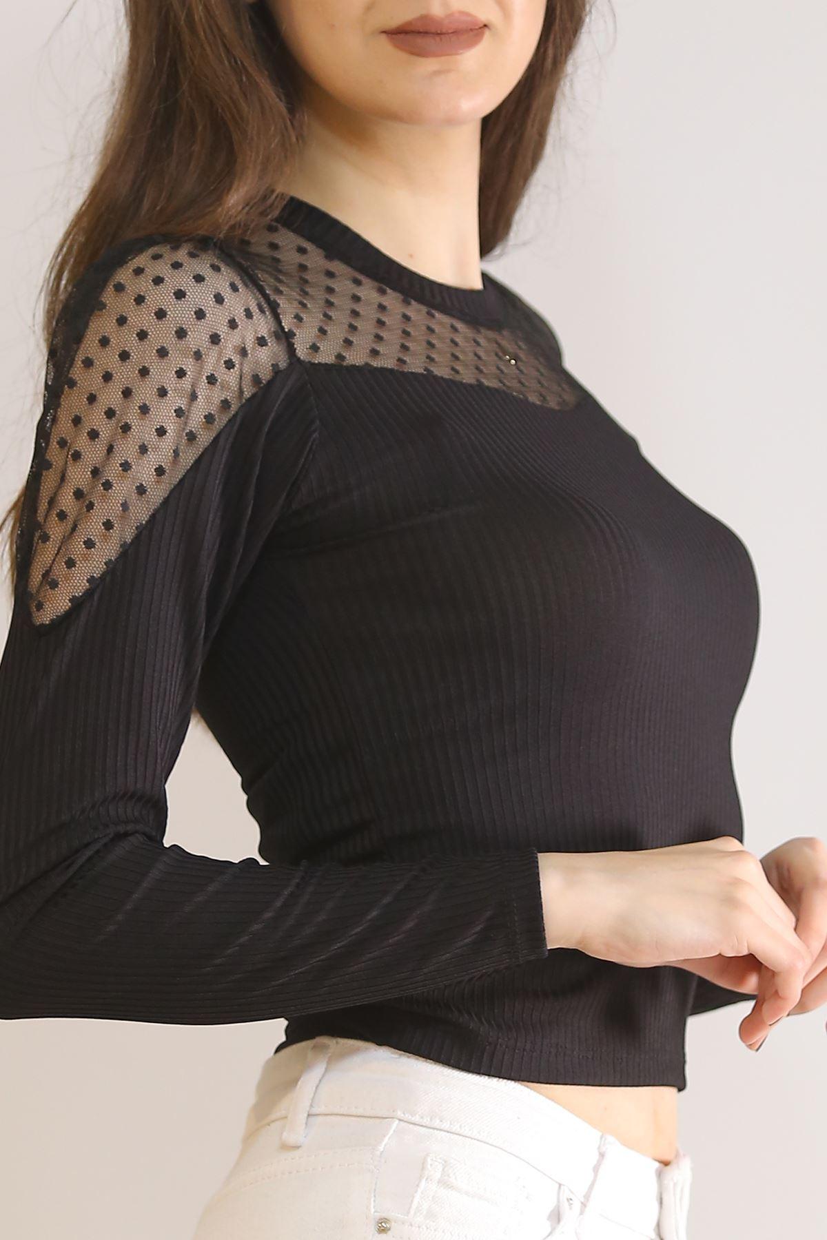 Arkası Önü Dantelli Bluz Siyah - 5855.224.