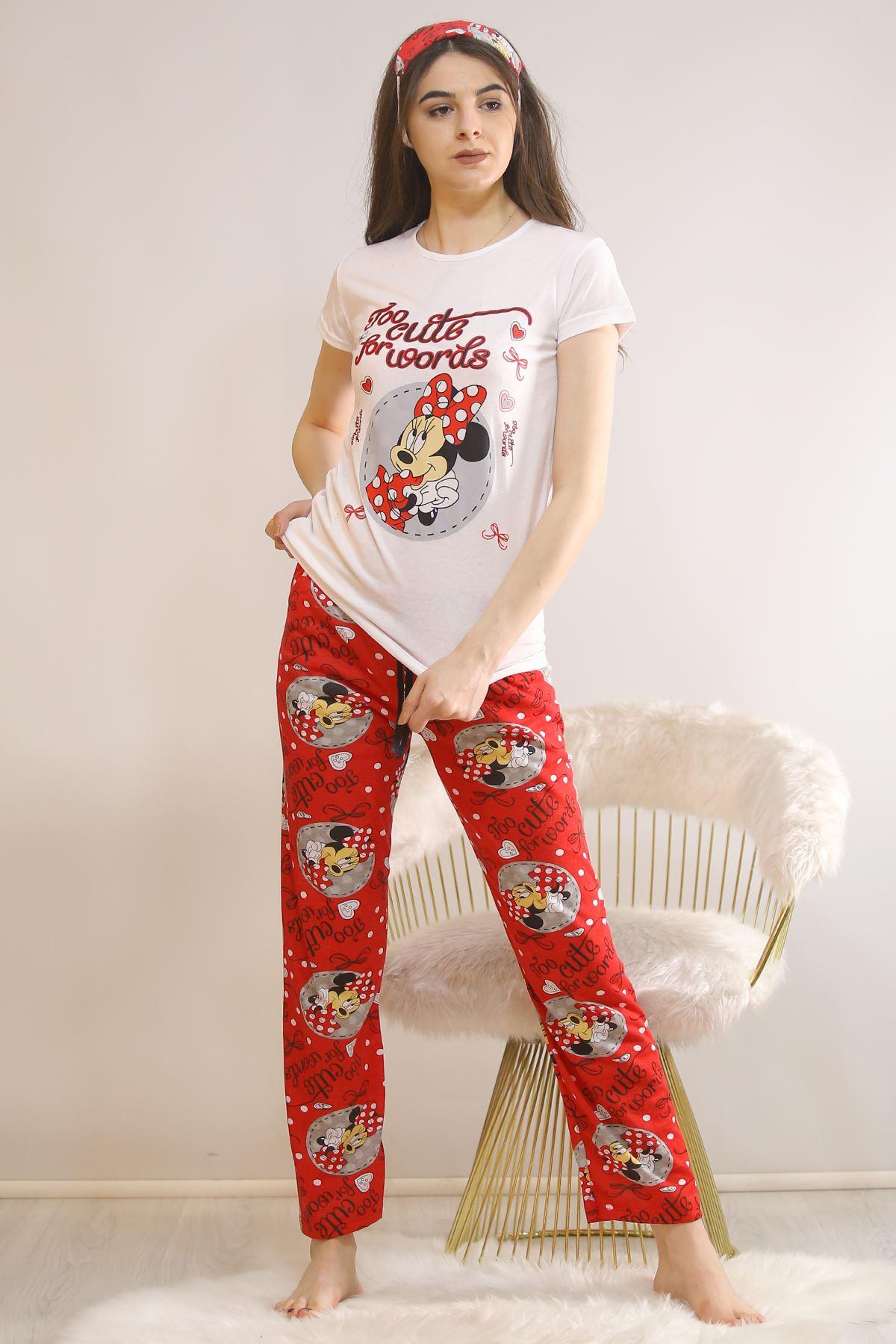 Baskılı Pijama Takımı Beyaz - 5813.102. Toptan