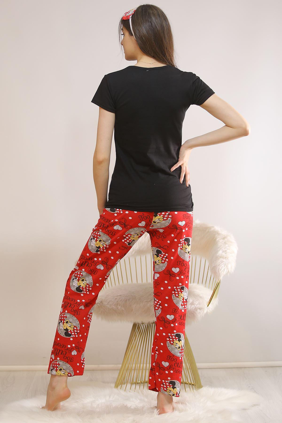 Baskılı Pijama Takımı Siyah - 5813.102. Toptan