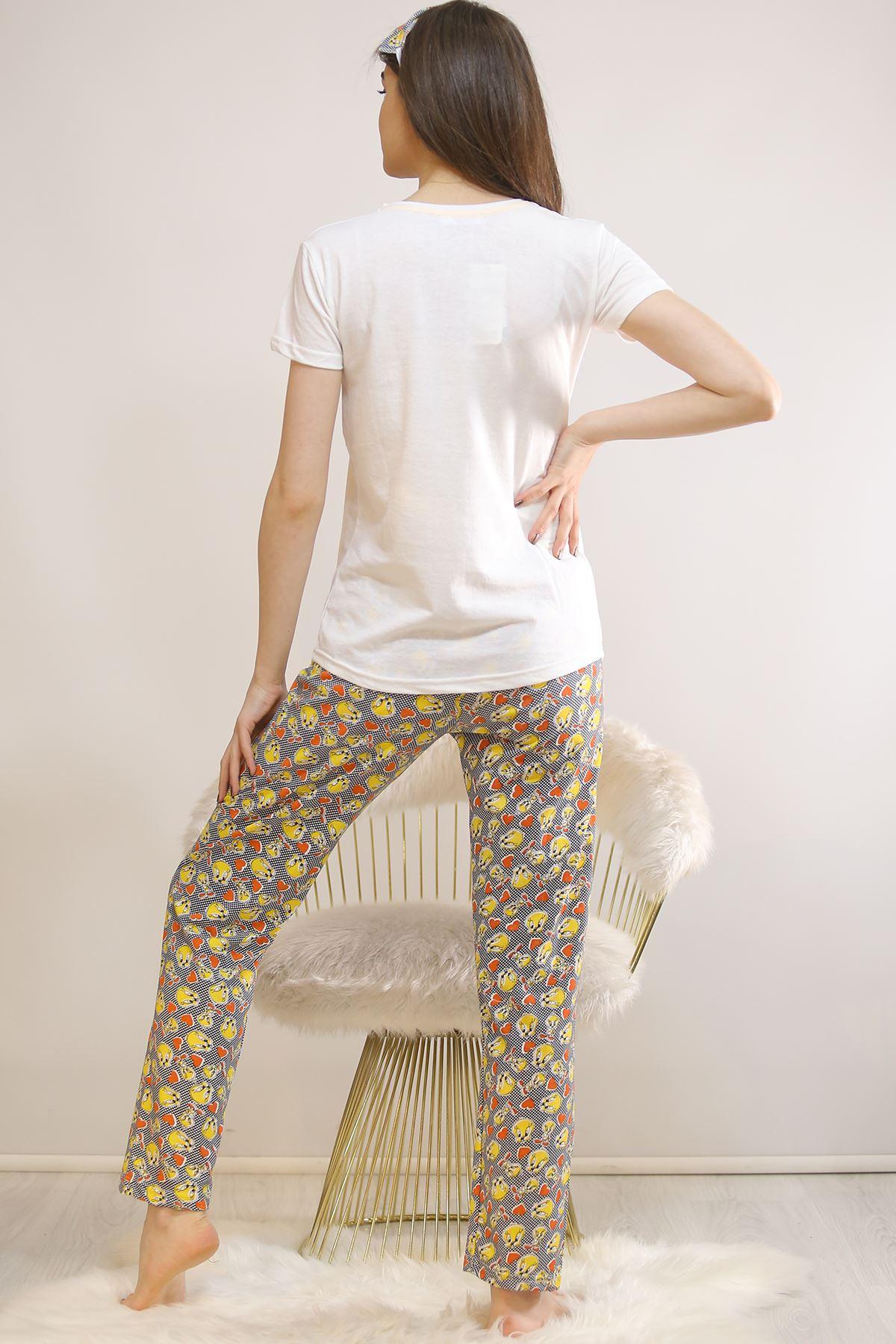 Baskılı Pijama Takımı Beyaz - 21827.1059. Toptan