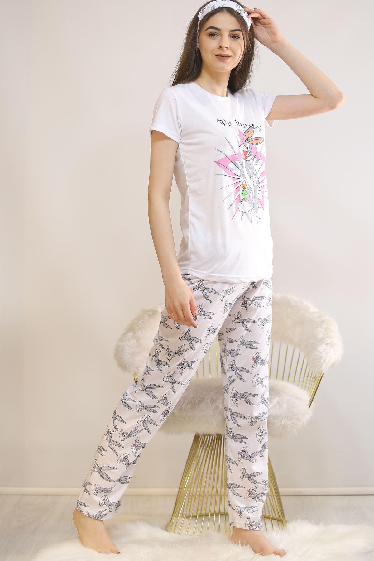 Baskılı Pijama Takımı Beyaz - 21879.1059. Toptan
