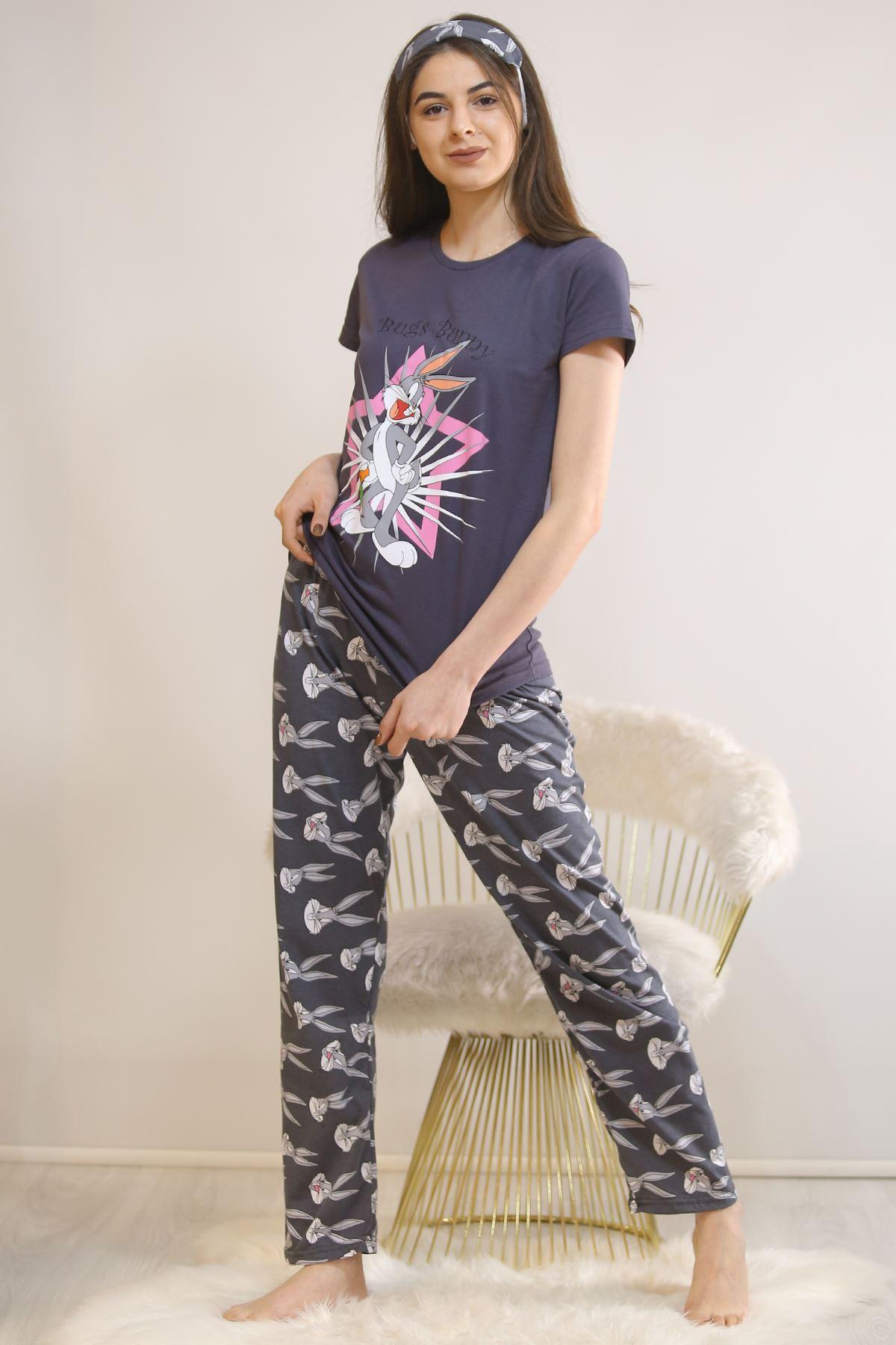 Baskılı Pijama Takımı Füme - 21879.1059. Toptan