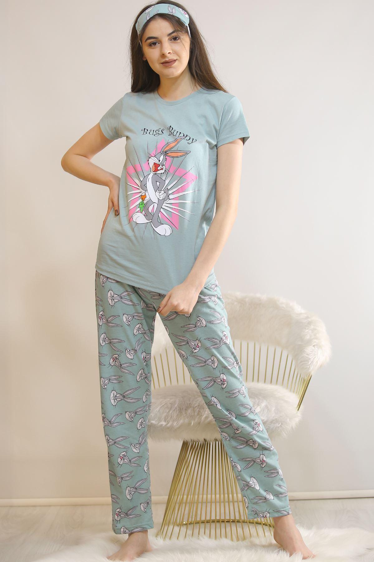 Baskılı Pijama Takımı Mint - 21879.1059. Toptan
