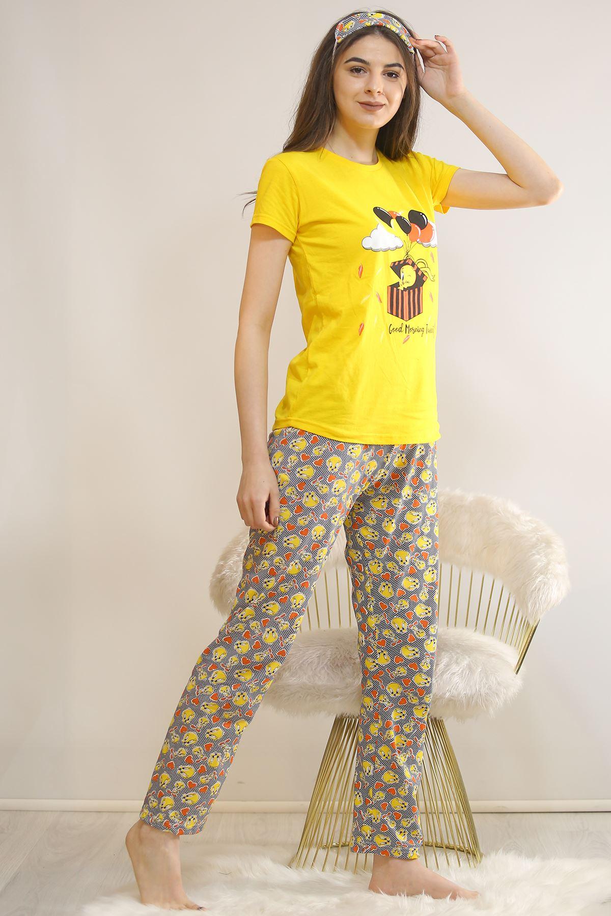 Baskılı Pijama Takımı Sarı - 21827.1059. Toptan