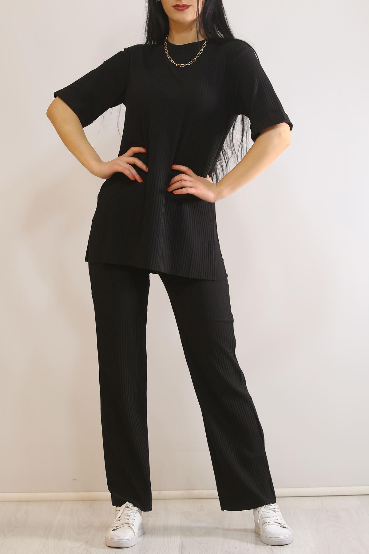 Yırtmaçlı Kadın Takım Siyah - 3685.1186.